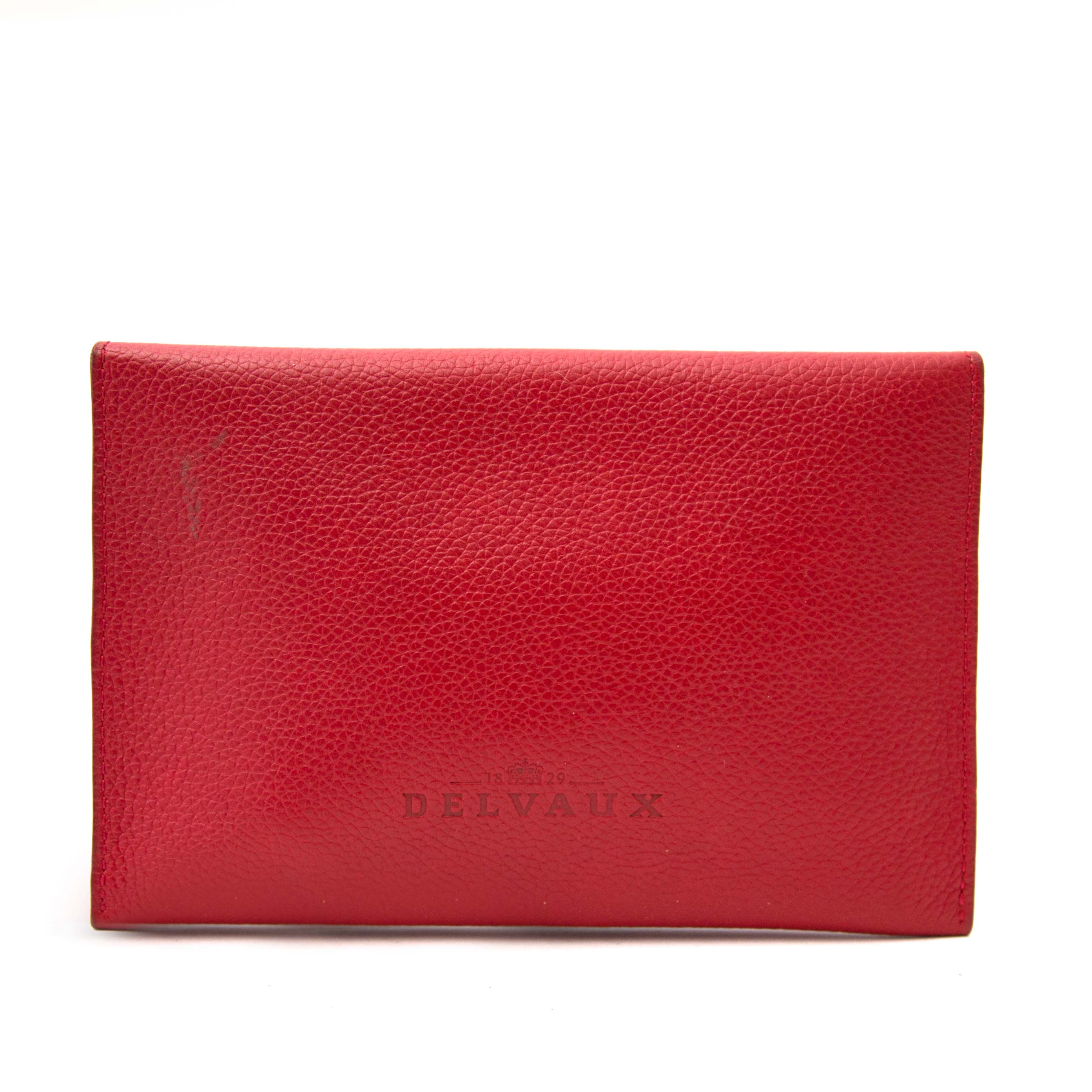 buy now online secondhand Delvaux Red Enveloppe Wallet on labellov.com