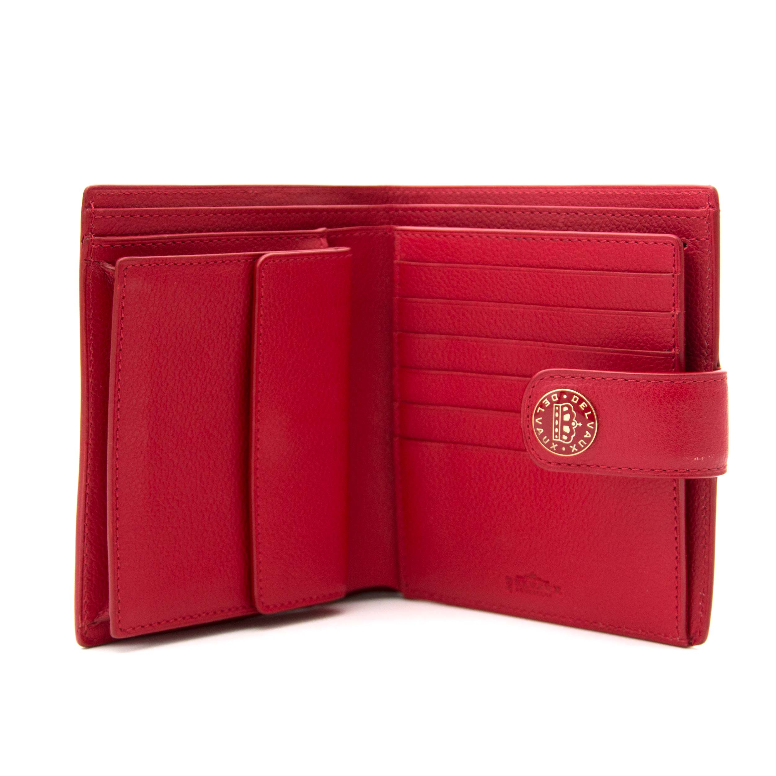 Delvaux Red Leather Wallet for sale online at Labellov