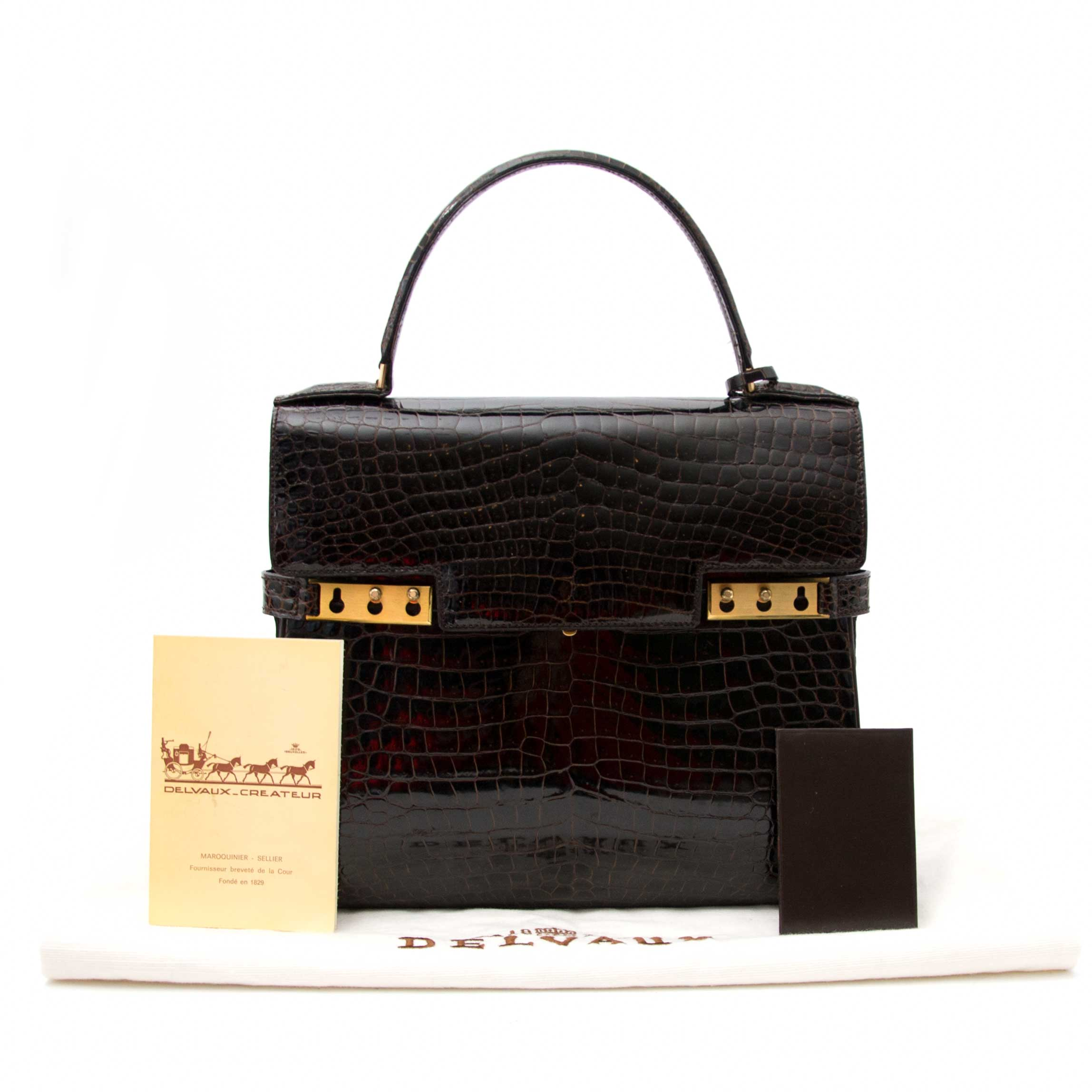 shop safe online secondhand Delvaux Tempete PM Croc Brown