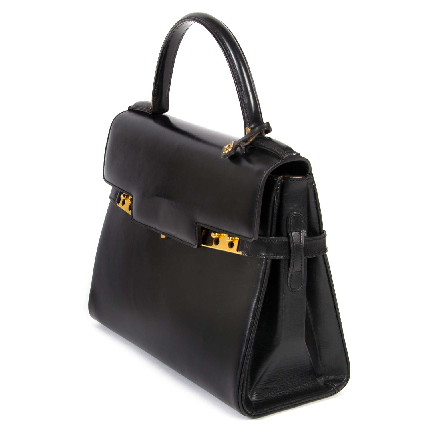 Delvaux Black Boxcalf Leather Tempête MM for sale online at Labellov