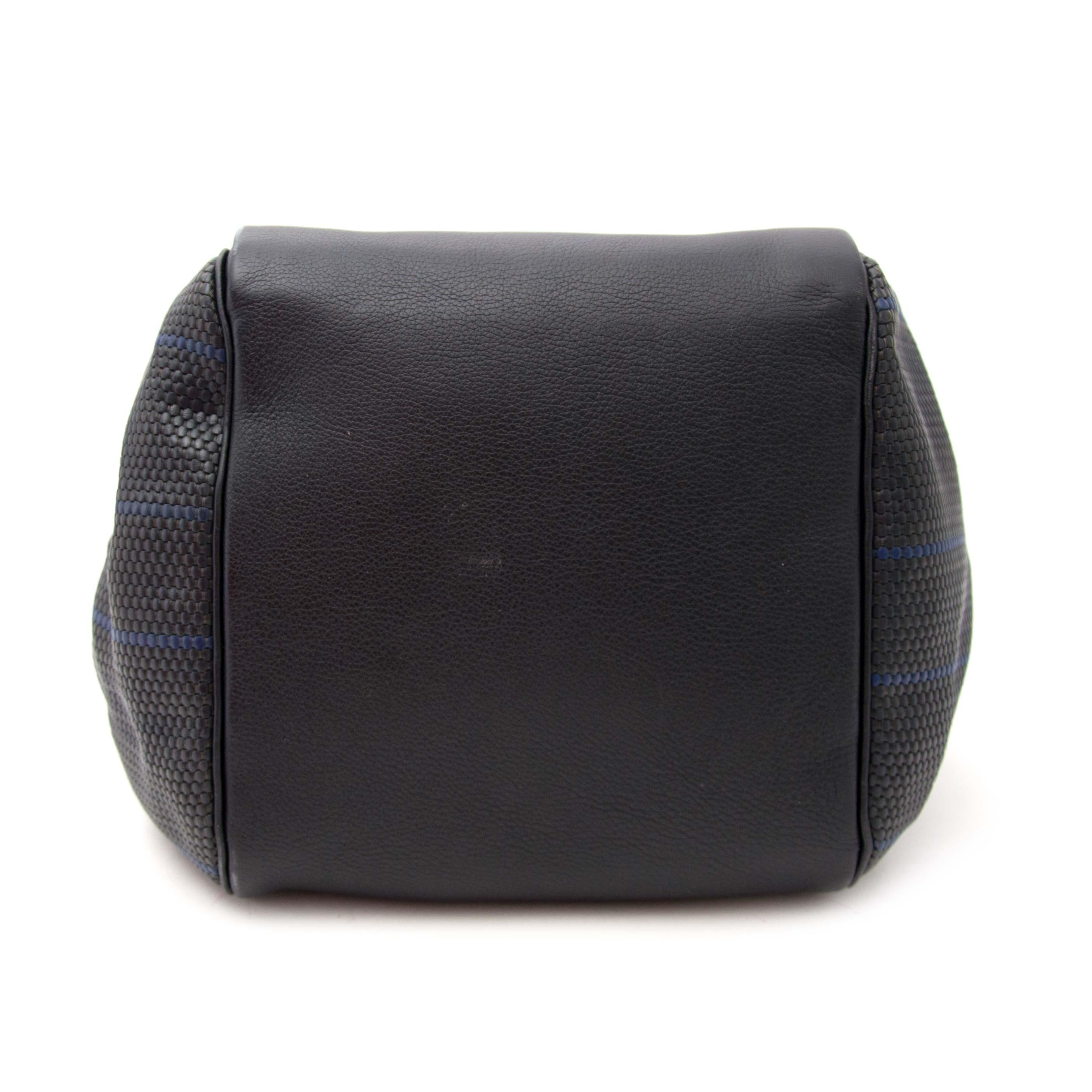 shop safe online your secondhand Delvaux Dark Blue and Black Woven Toile de Cuir  Top Handle Bag