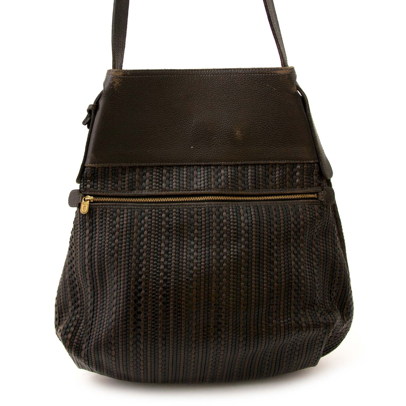 tweedehands Delvaux Dark Brown Toile De Cuir Bag  te koop bij labellov