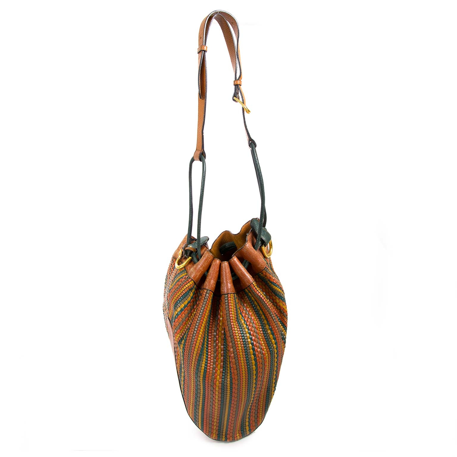 delvaux brown multicolor toile de cuir bucket bag now for sale at labellov vintage fashion webshop belgium