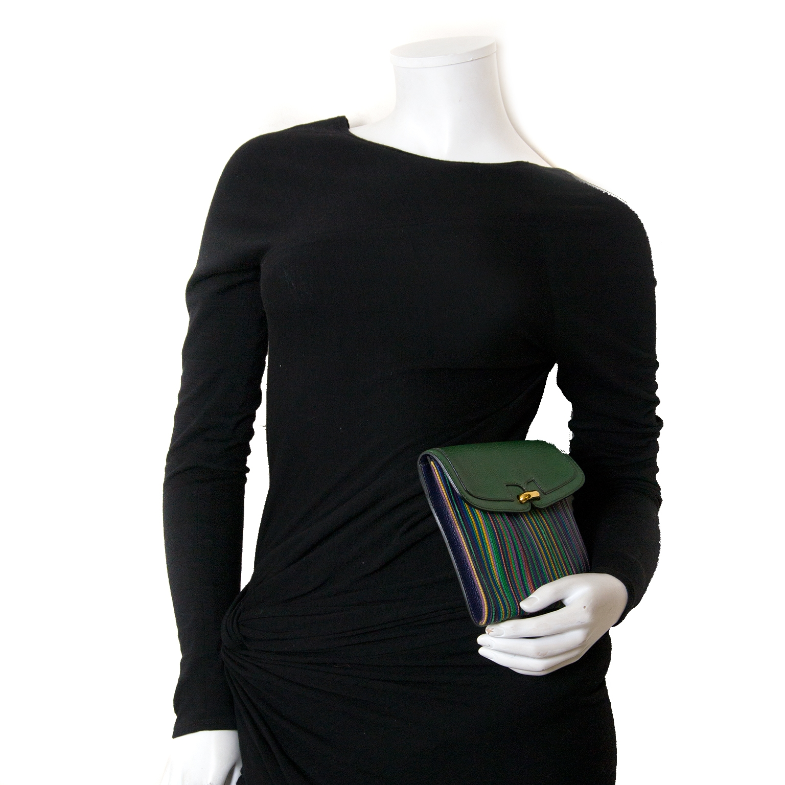 delvaux toile de cuir multicolor green clutch now for sale at labellov vintage fashion webshop belgium