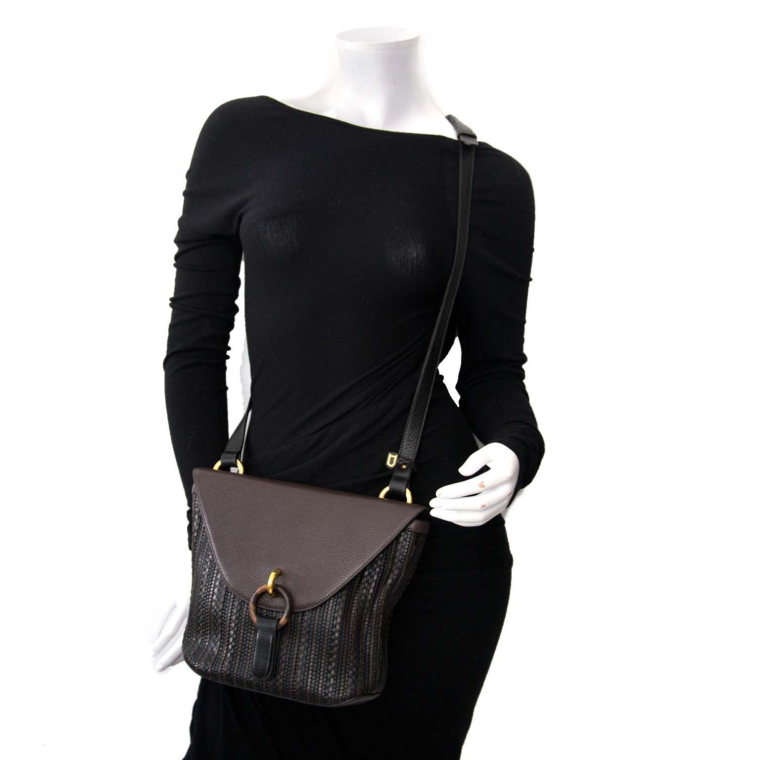 Delvaux Brown Toile de Cuir Crossbody Bag for sale online at Labellov