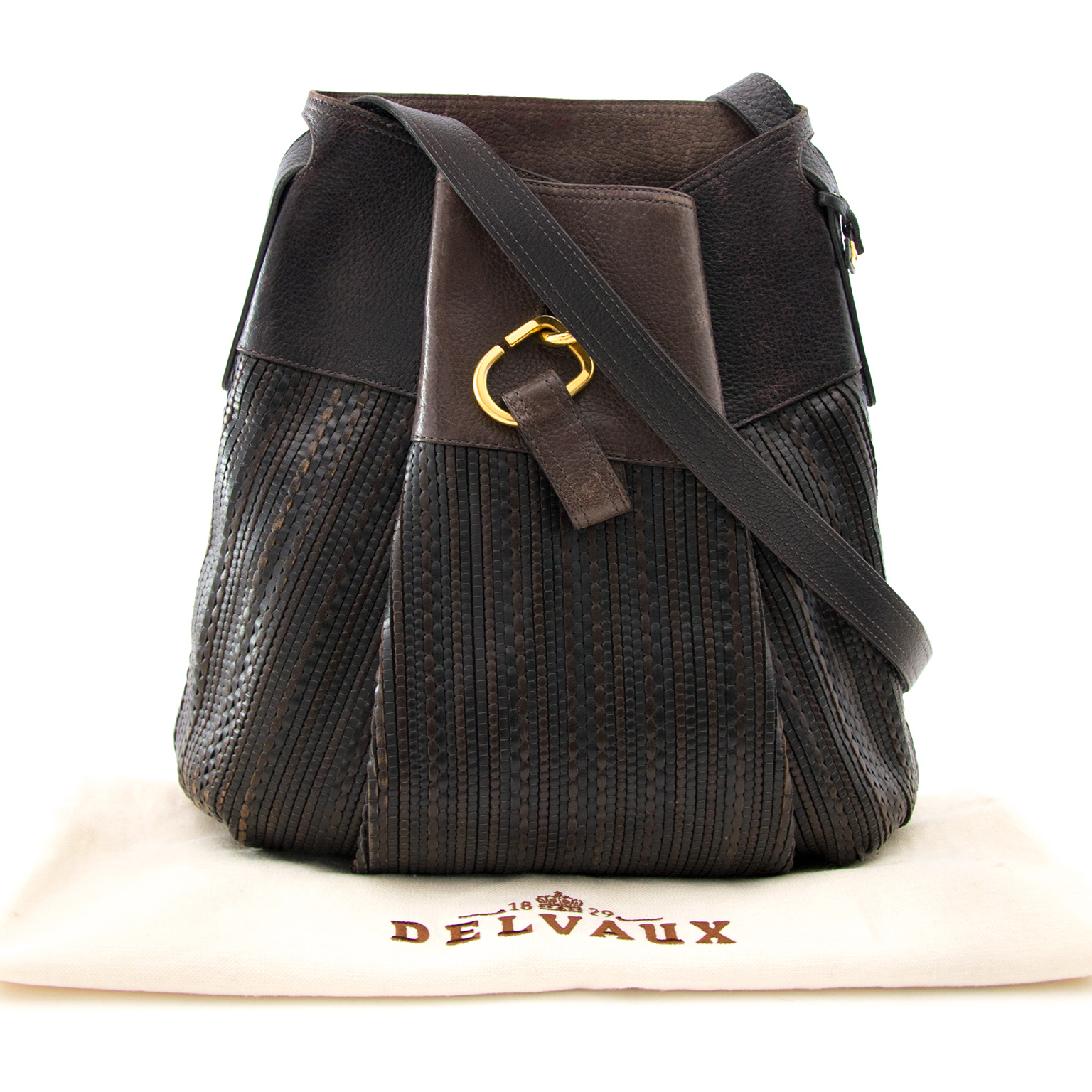 Real dark brown Delvaux Toile de cuir  Faust now on lwww.labellov.com at the best price