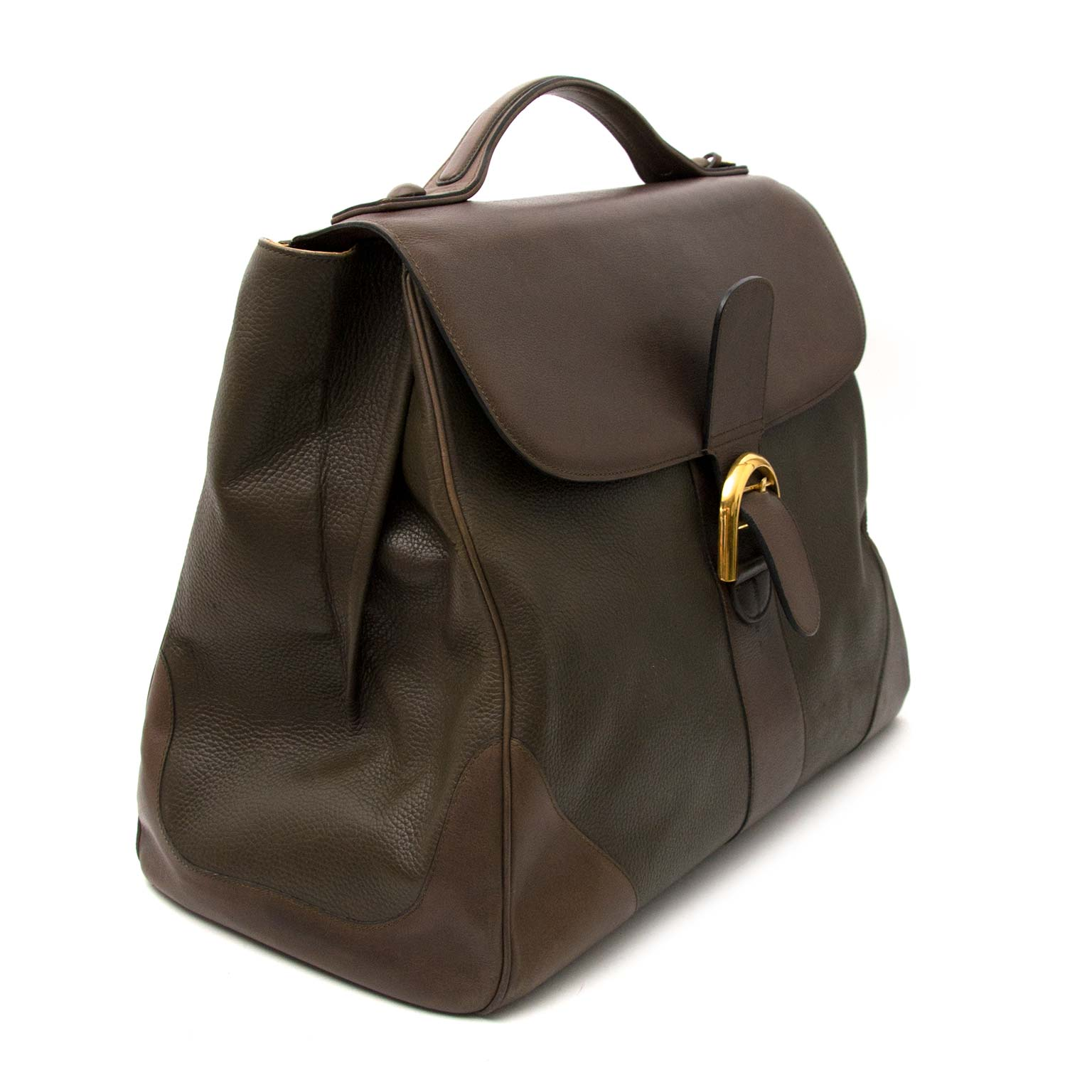 acheter en ligne seconde main Delvaux Khaki Brown Brillant Weekender
