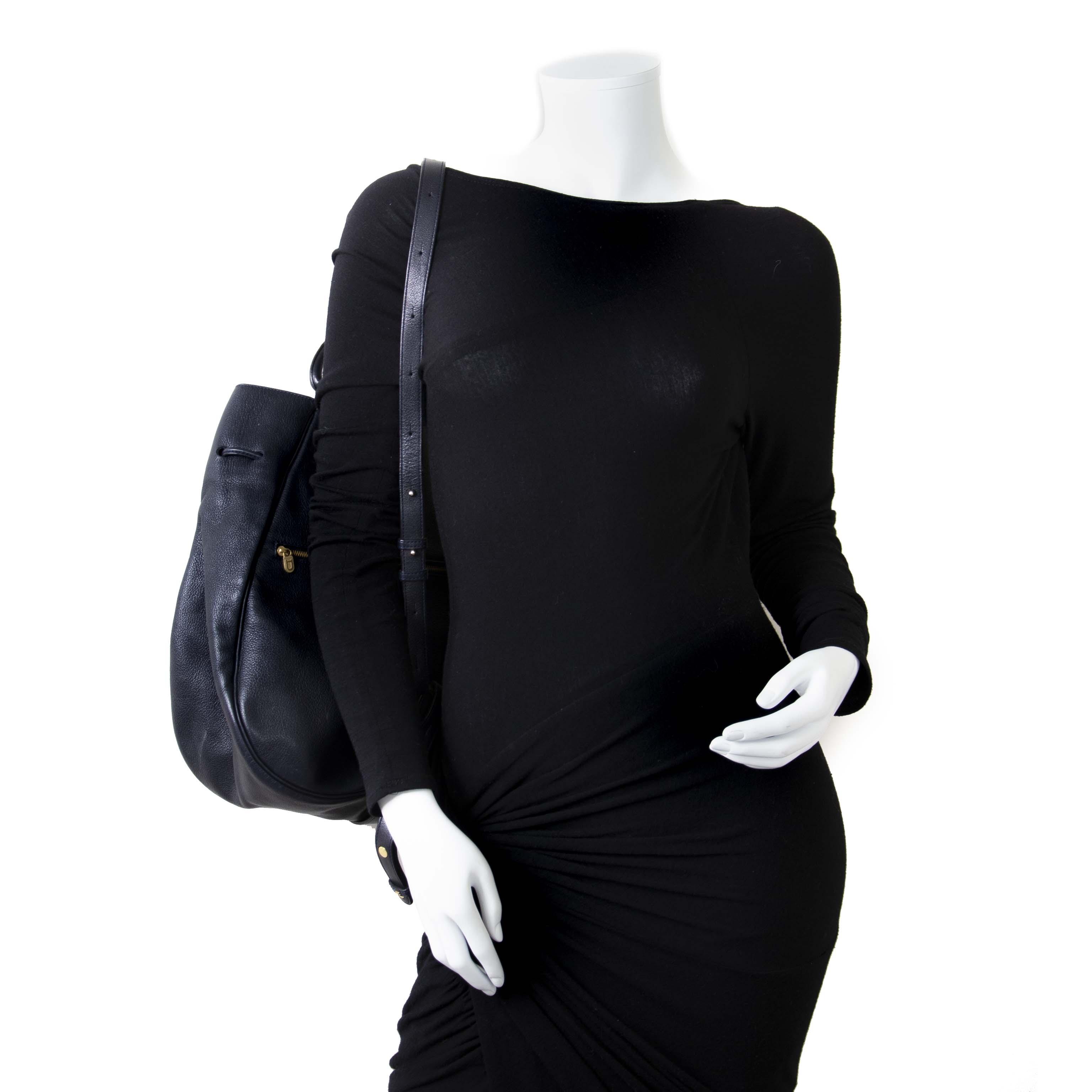 Delvaux Dark Blue Large Lucifer Backpack now for sale at labellov vintage fashion webshop belgium