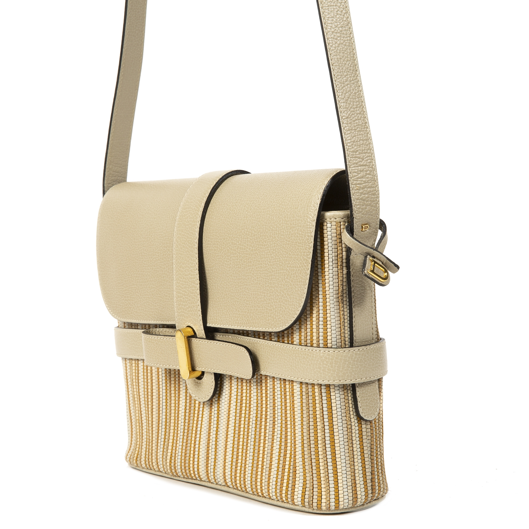 Delvaux Beige and Sand Toile De Cuir Crossbody Bag