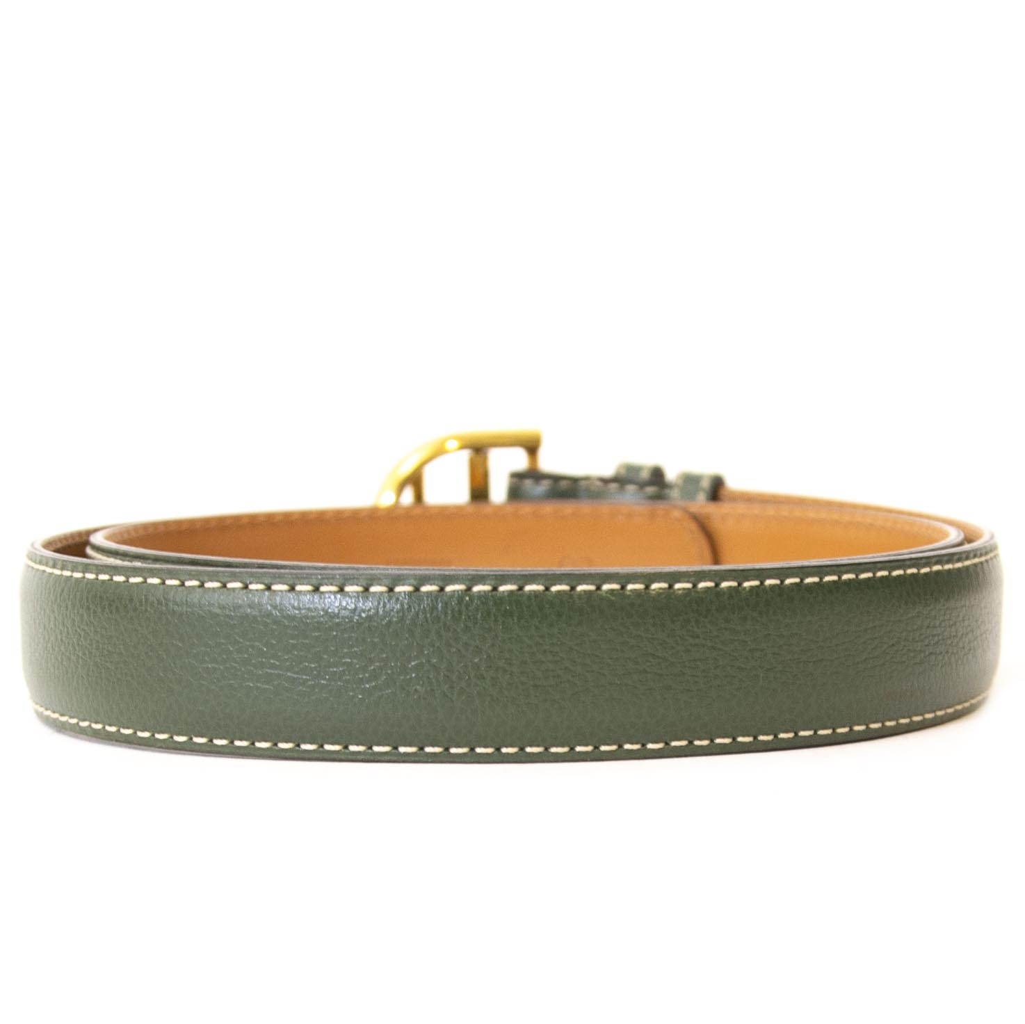 Delvaux Green Brillant Buckle Belt