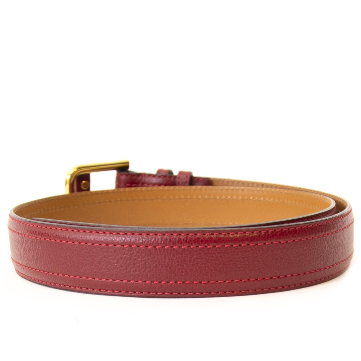 Delvaux Red Leather Belt - Size 85
