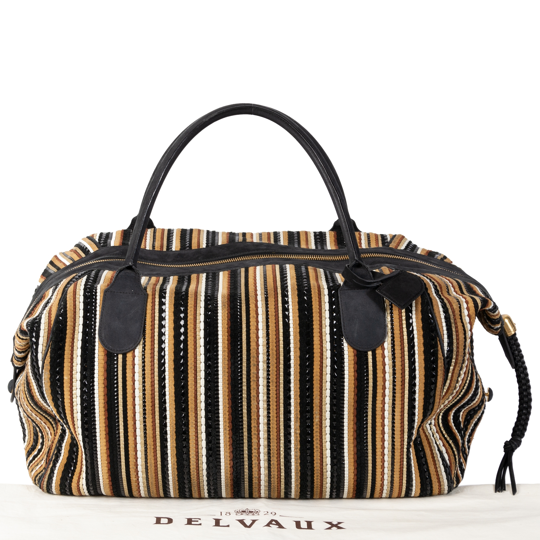 Delvaux Black & Brown Toile de Cuir Duffel Bag