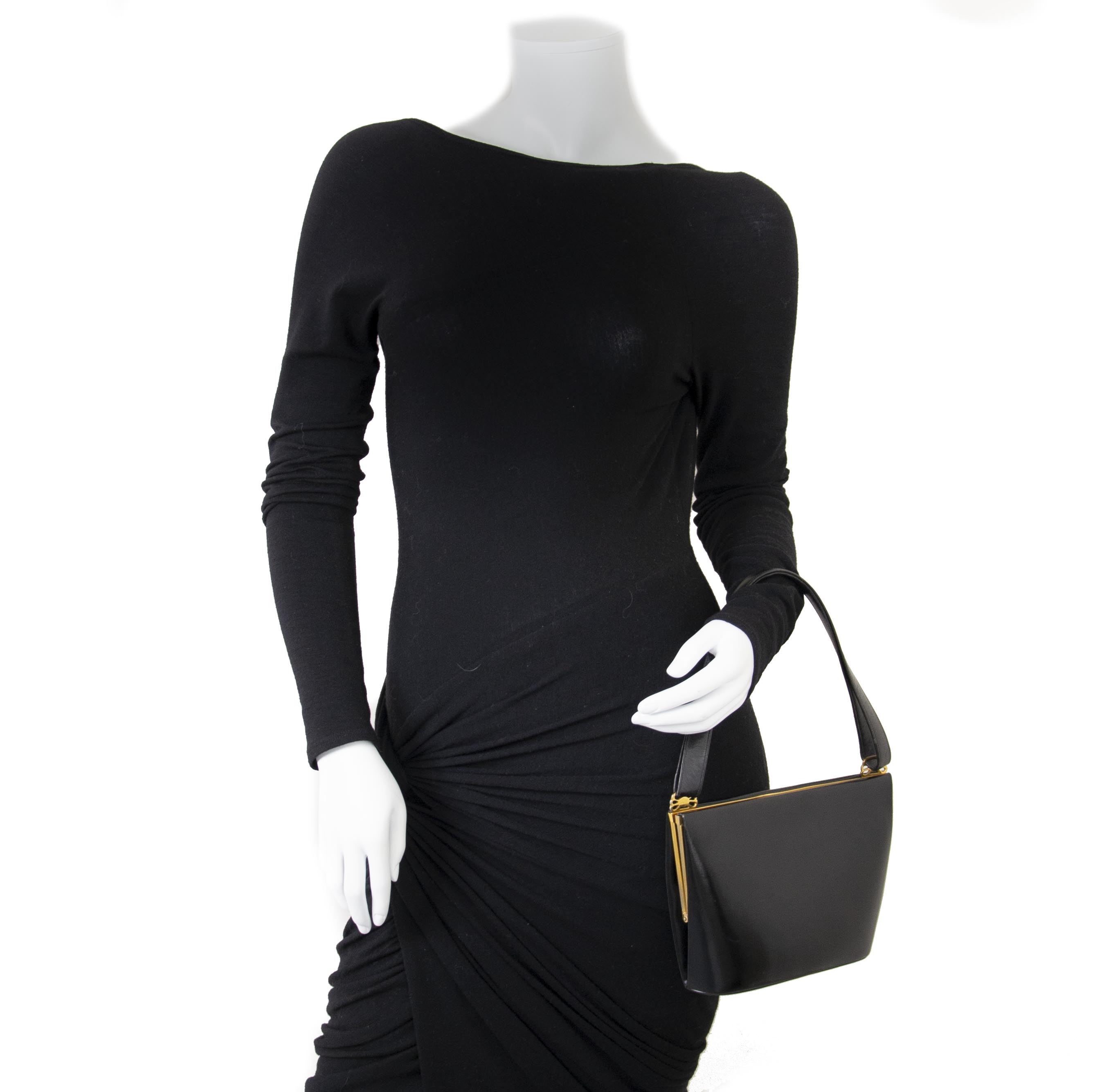 Delvaux Black Boxcalf Evening Bag now for sale at labellov vintage fashion webshop belgium