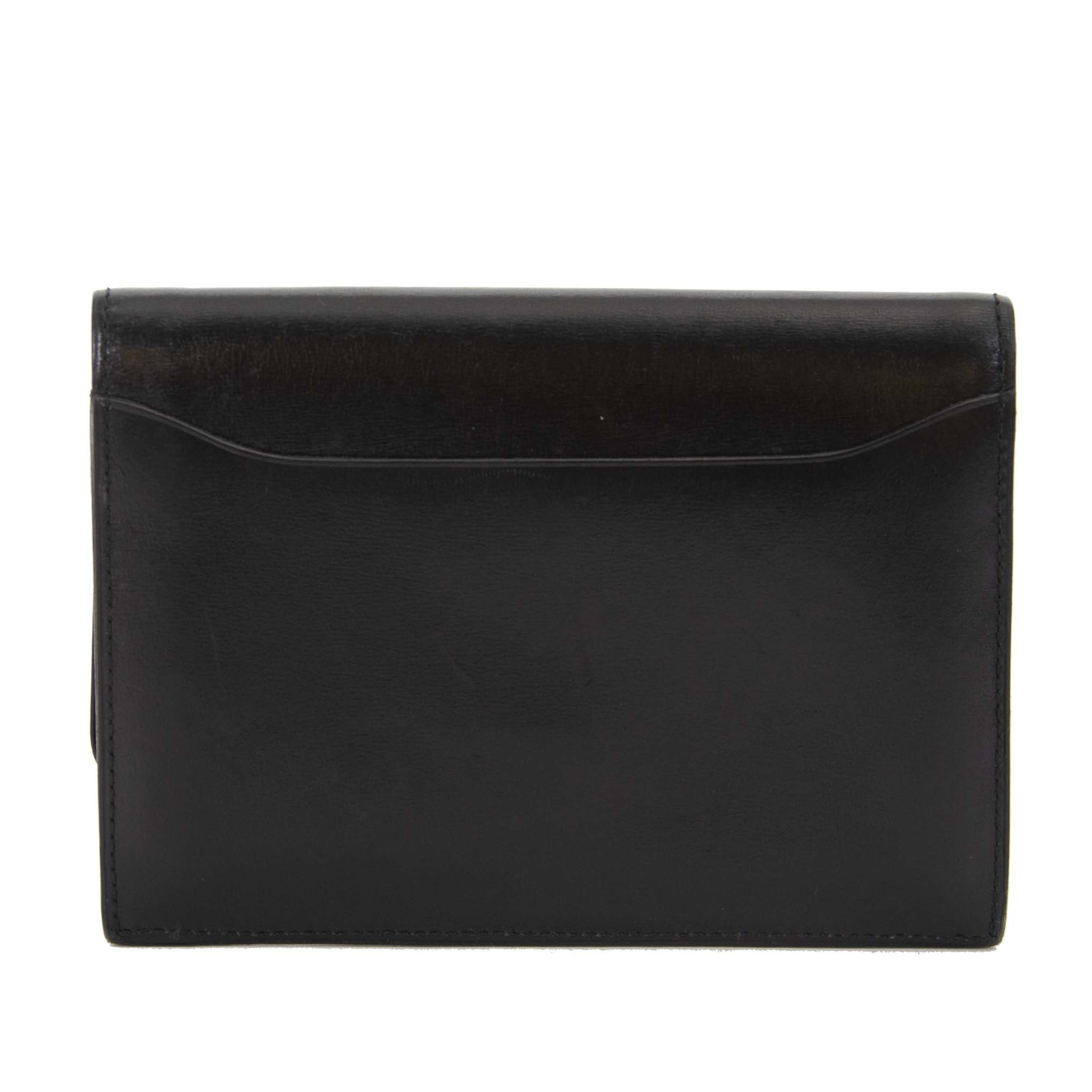Delvaux Black Boxcalf Wallet now for sale at labellov vintage fashion webshop belgium