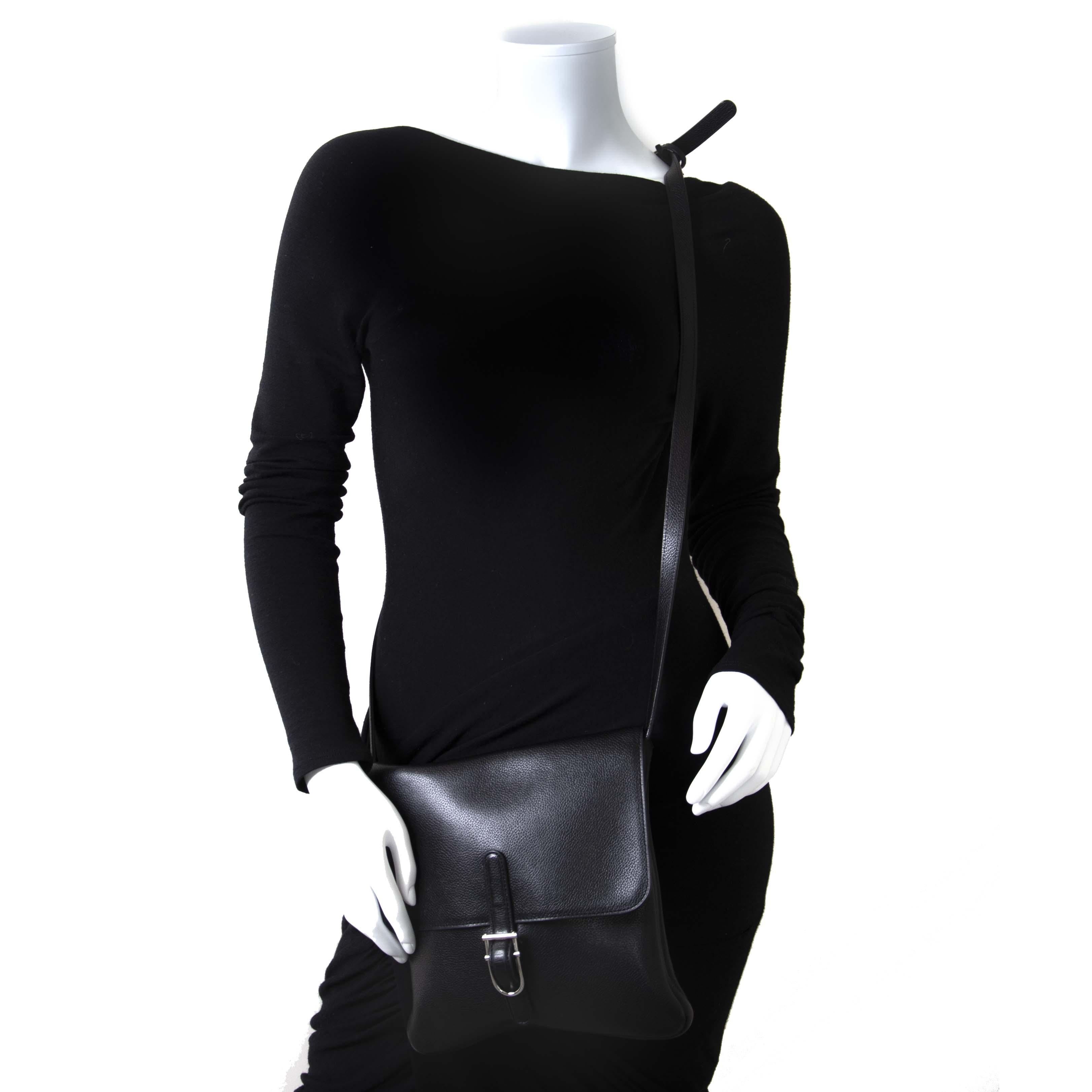 7d435b939e53 ... Delvaux Black Leather Kot Crossbody Bag now for sale at labellov  vintage fashion webshop belgium
