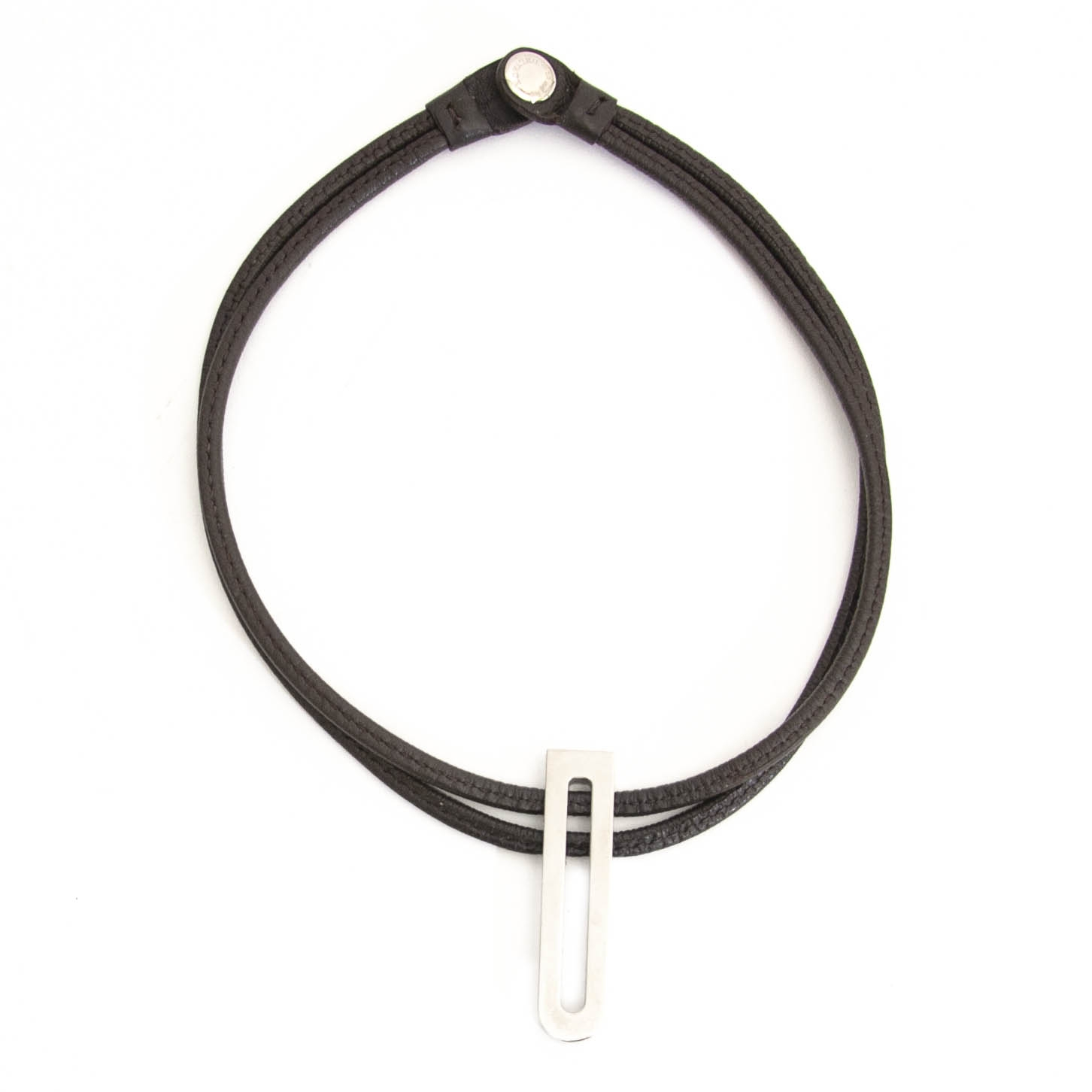 Delvaux Brown Leather Silver D Necklace achter en ligne chez labellov.com