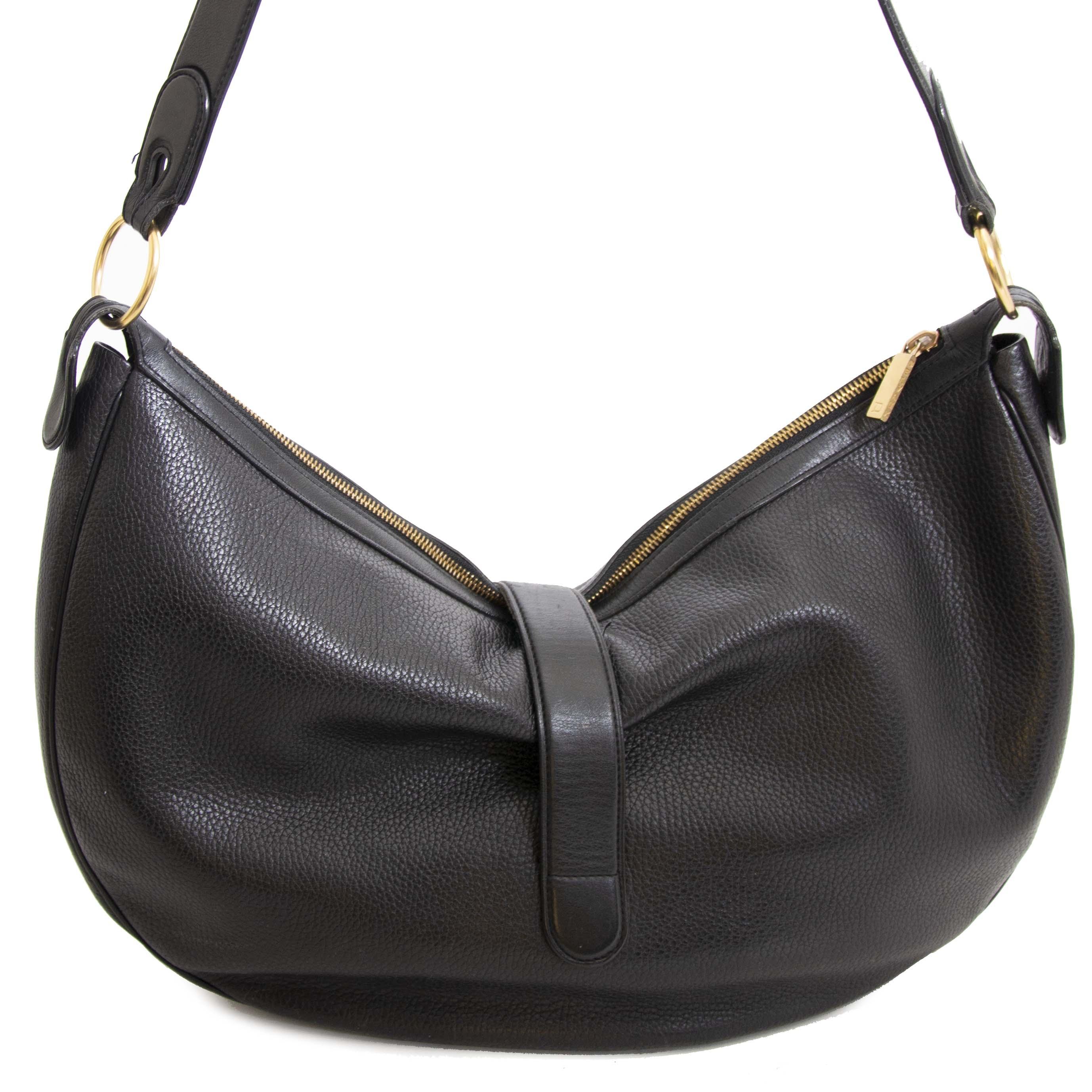Authentieke tweedehands vintage Delvaux Camille Black Shoulder Bag koop online webshop LabelLOV