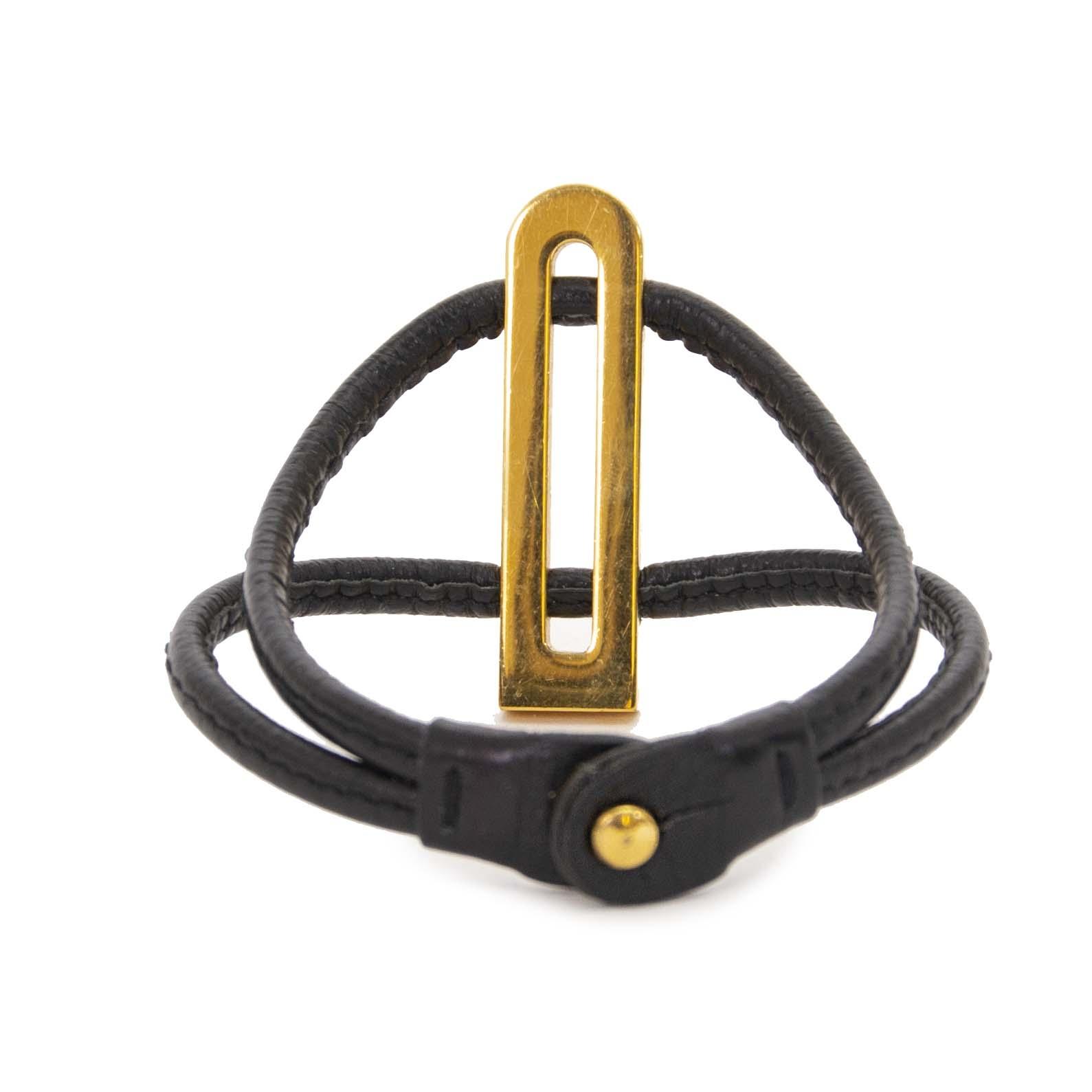 Delvaux Black Leather Gold D Bracelet now for sale at labellov vintage fashion webshop belgium
