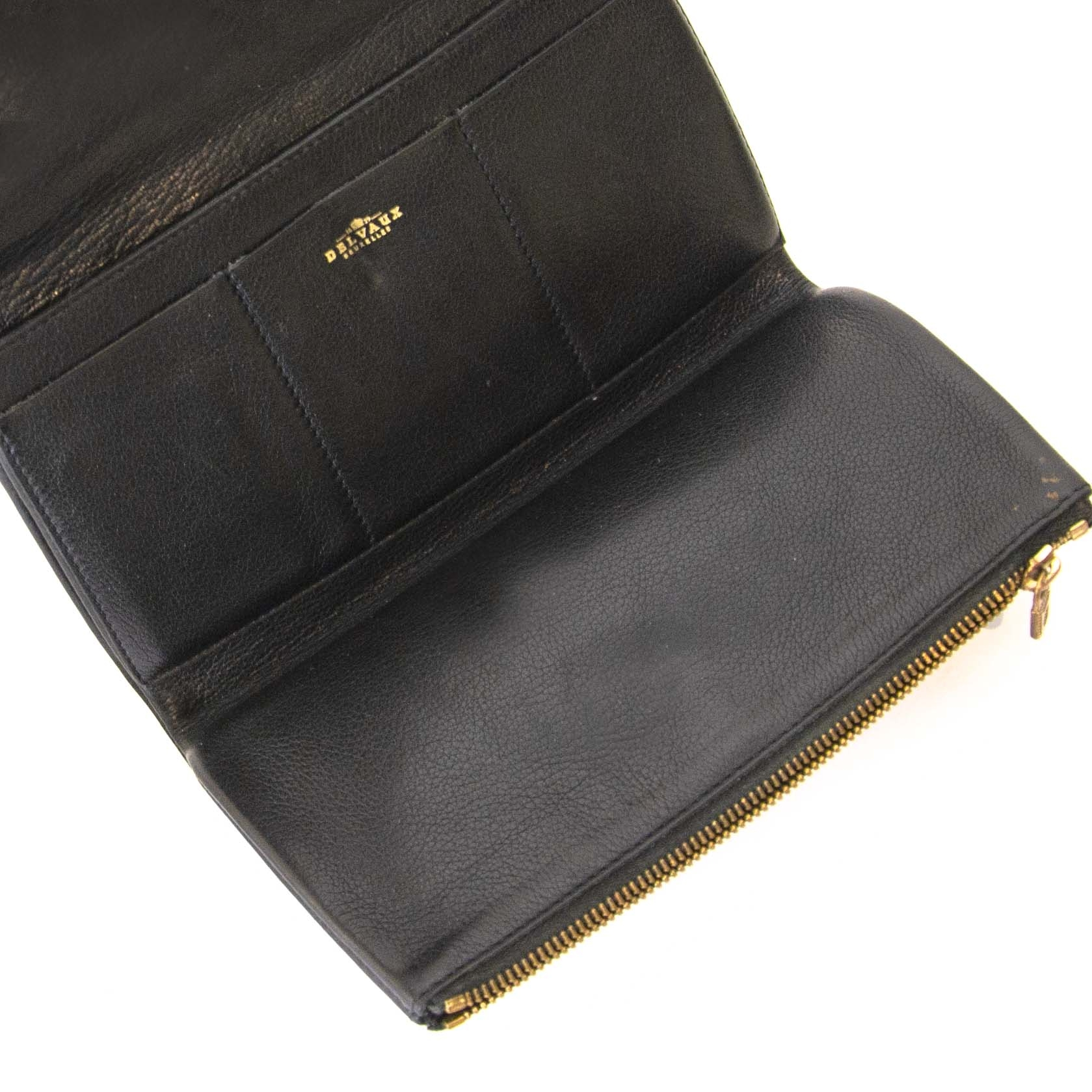 Authentique seconde main vintage Delvaux Black Leather Wallet achète en ligne webshop LabelLOV