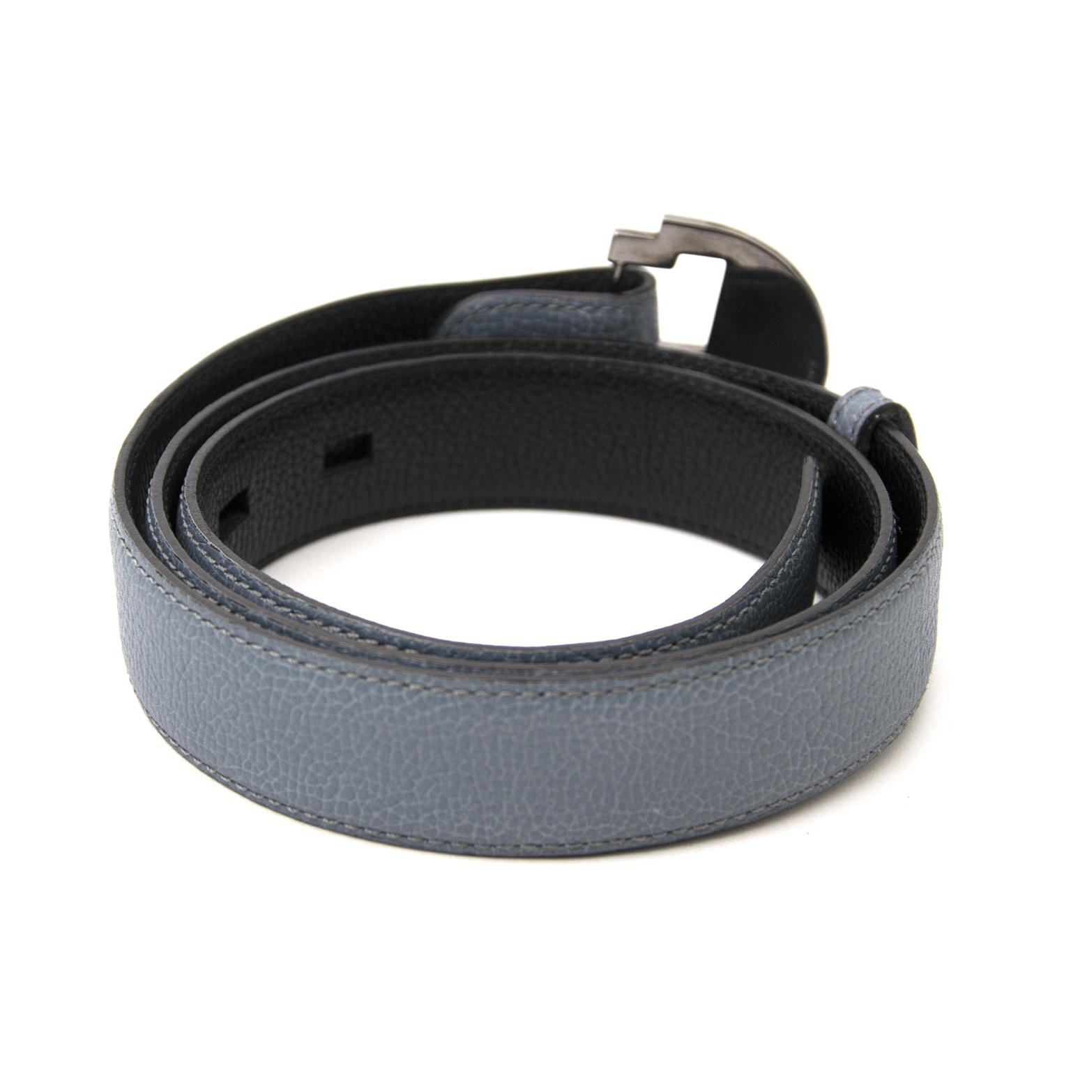 Acheter secur en ligne Delvaux Blue Leather 'Badine' Belt pour le meilleur prix