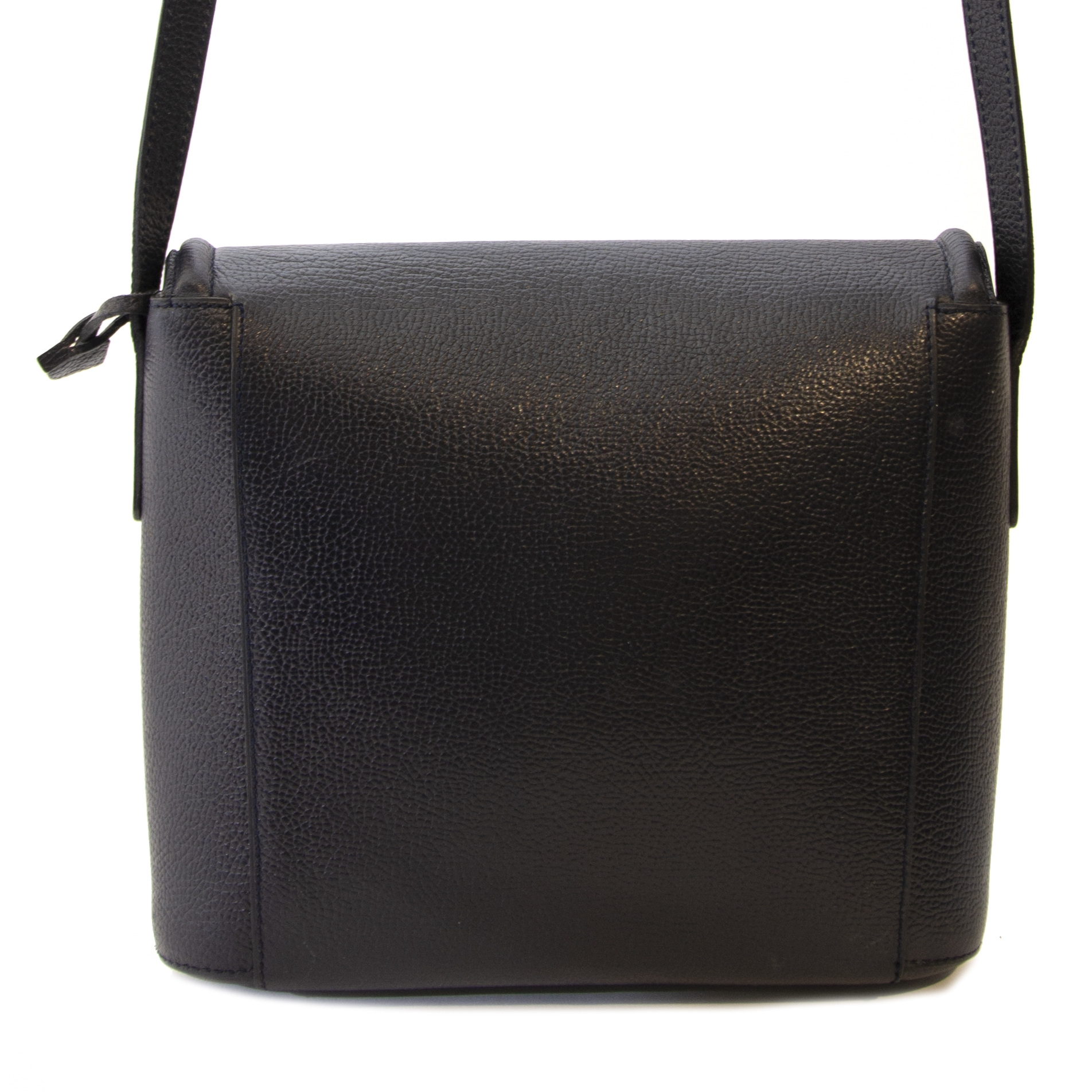 Authentique seconde main Delvaux Dark Blue Leather Crossbody Bag achète en ligne webshop LabelLOV