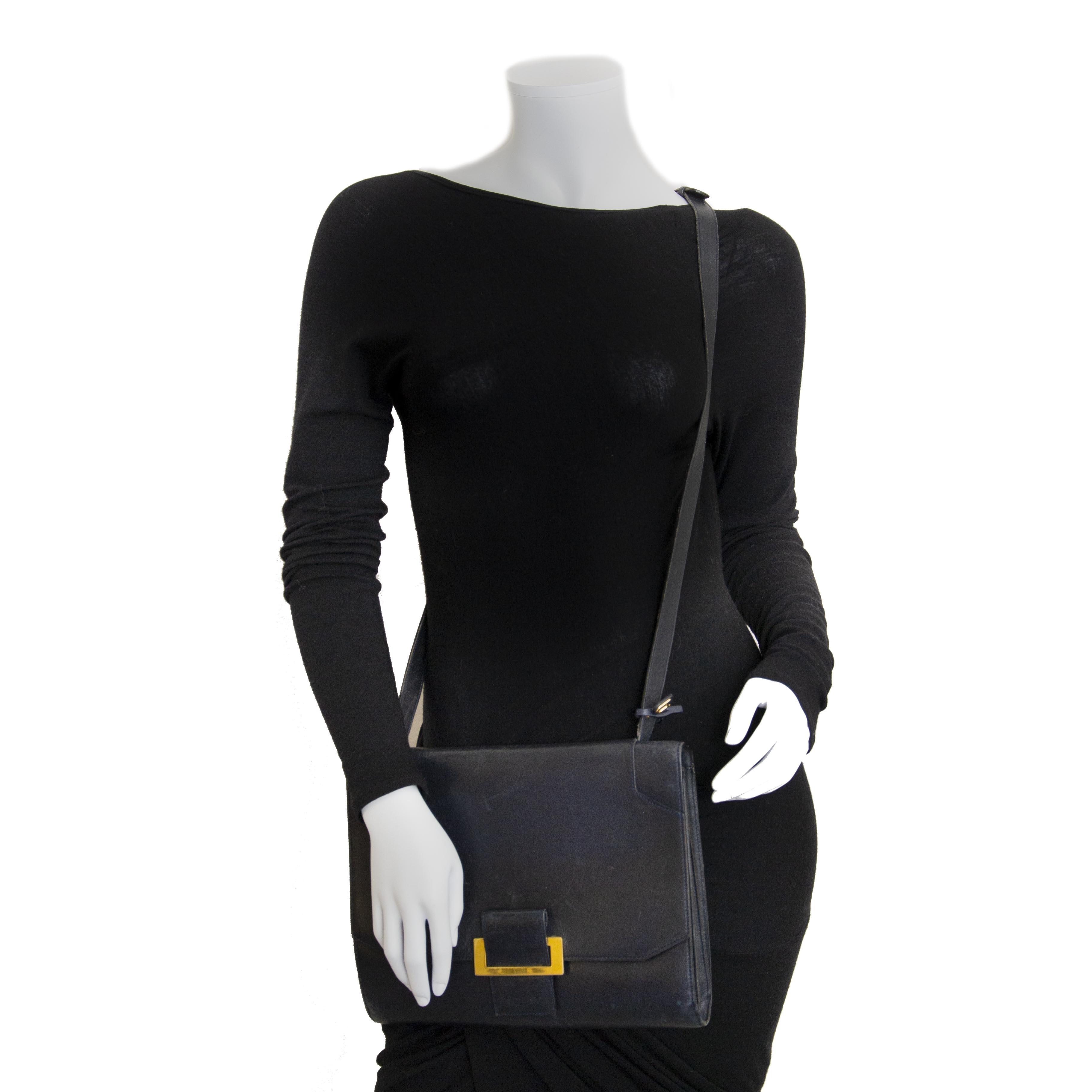 Delvaux Dark Blue Shoulder Bag now for sale at labellov vintage fashion webshop belgium