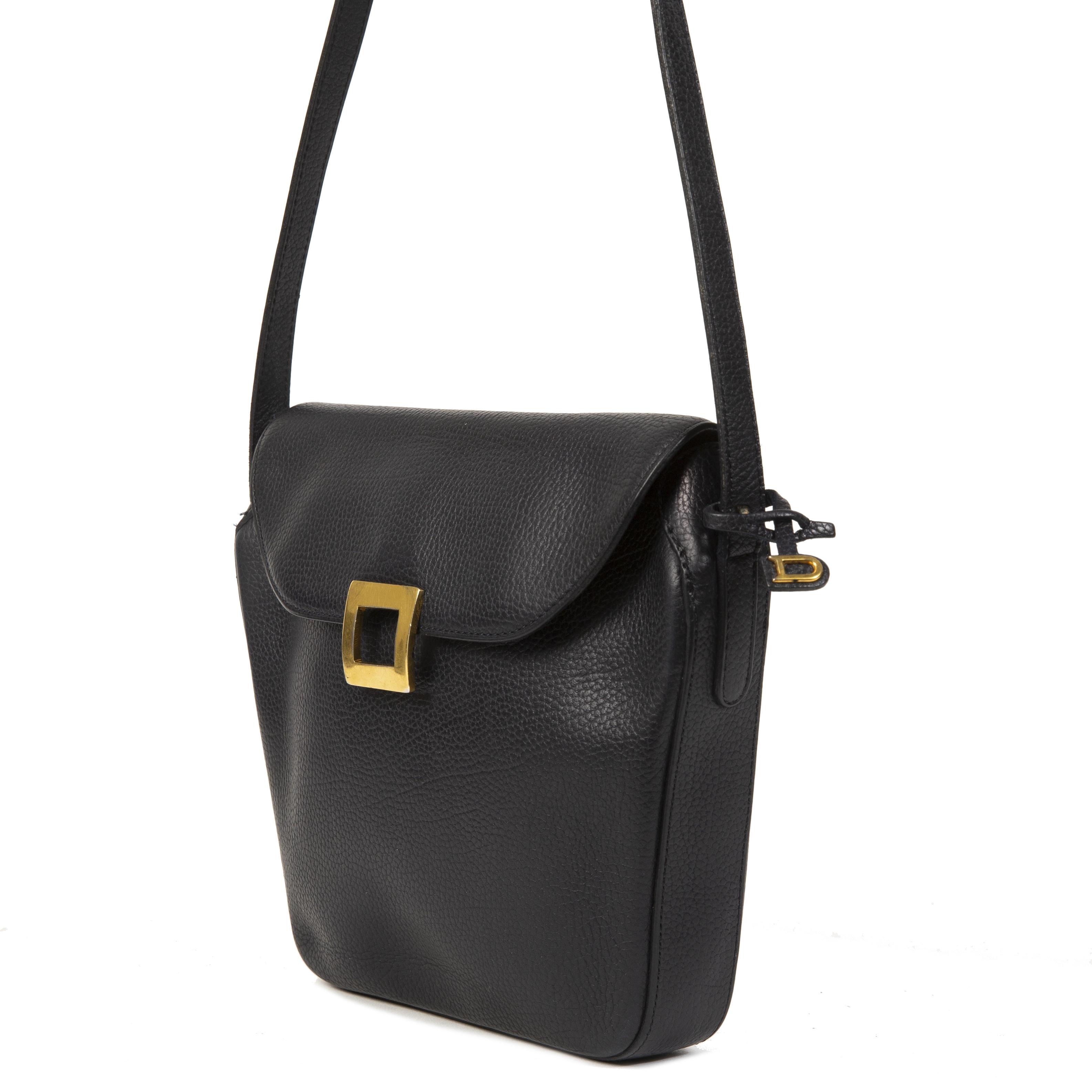 Authentieke Tweedehands Delvaux Dark Blue Leather Crossbody Bag juiste prijs veilig online shoppen luxe merken webshop winkelen Antwerpen België mode fashion