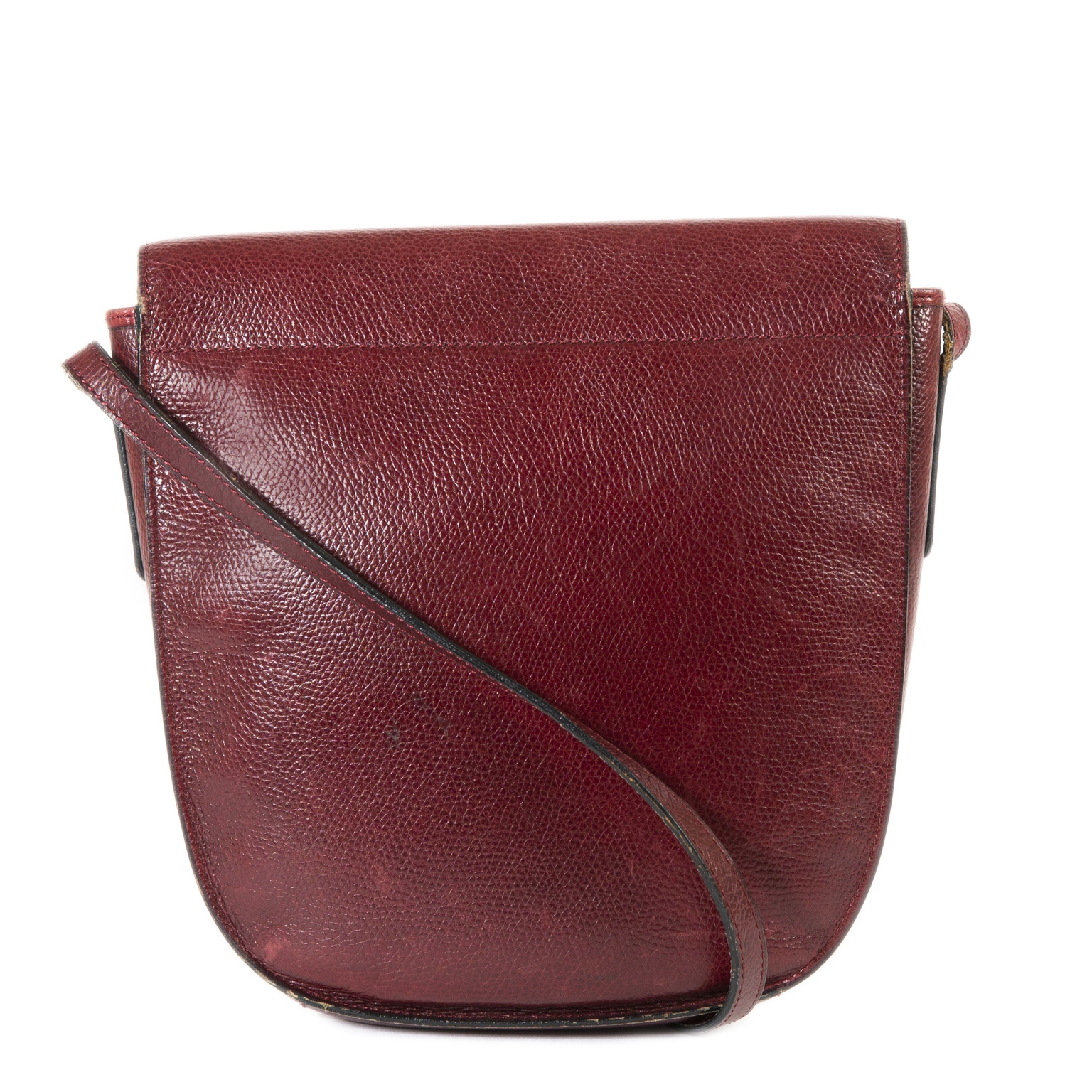 Delvaux Bordeaux Leather Crossbody Bag now for sale at labellov vintage fashion webshop belgium