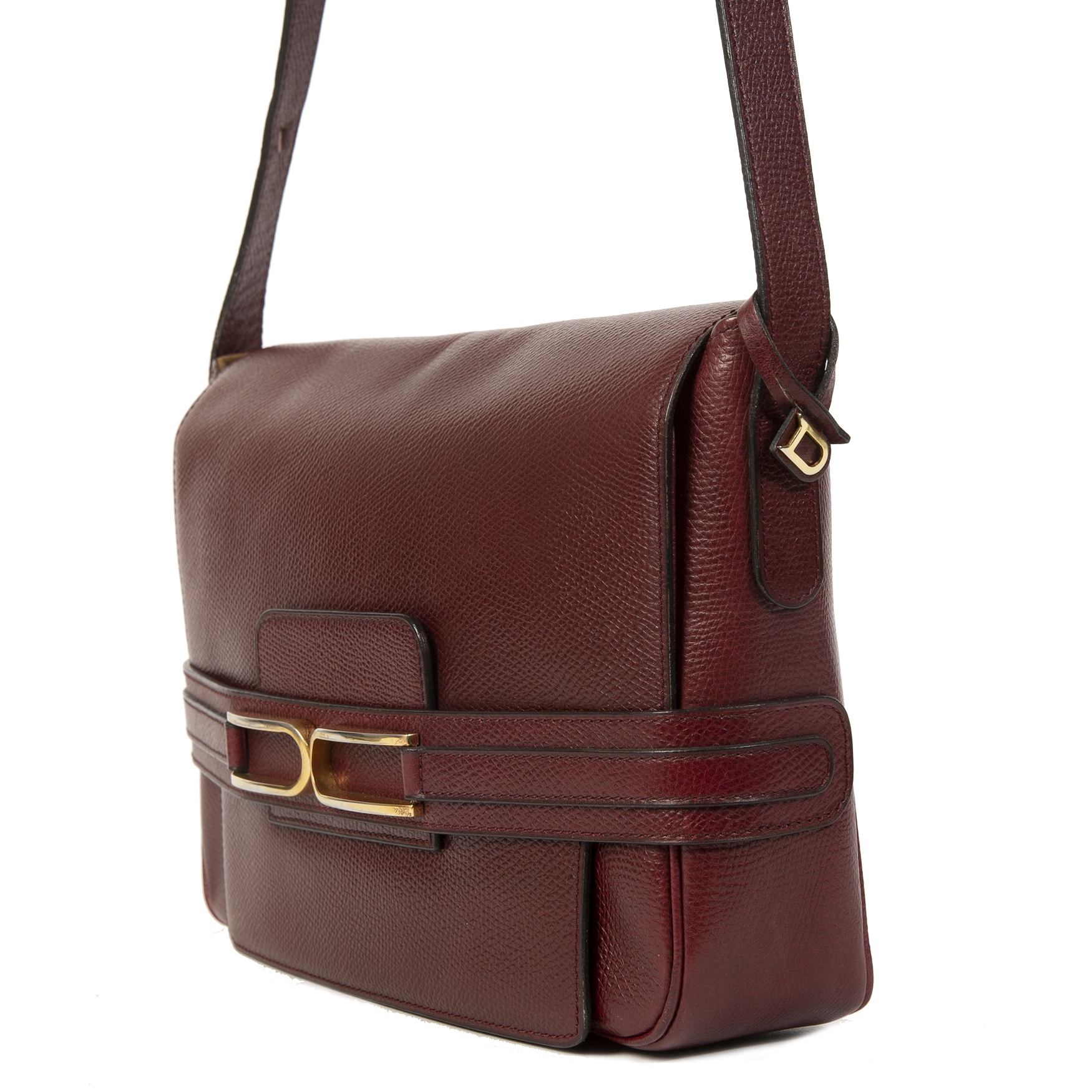 acheter en ligne seconde main Delvaux Bordeaux Crossbody Box Bag