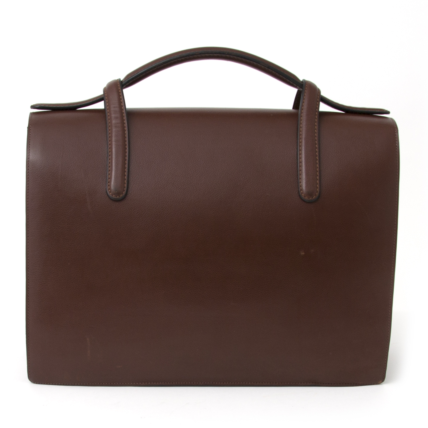 shop safe online worldwide shipping real rea luxury vintage Delvaux Brown Briefcase