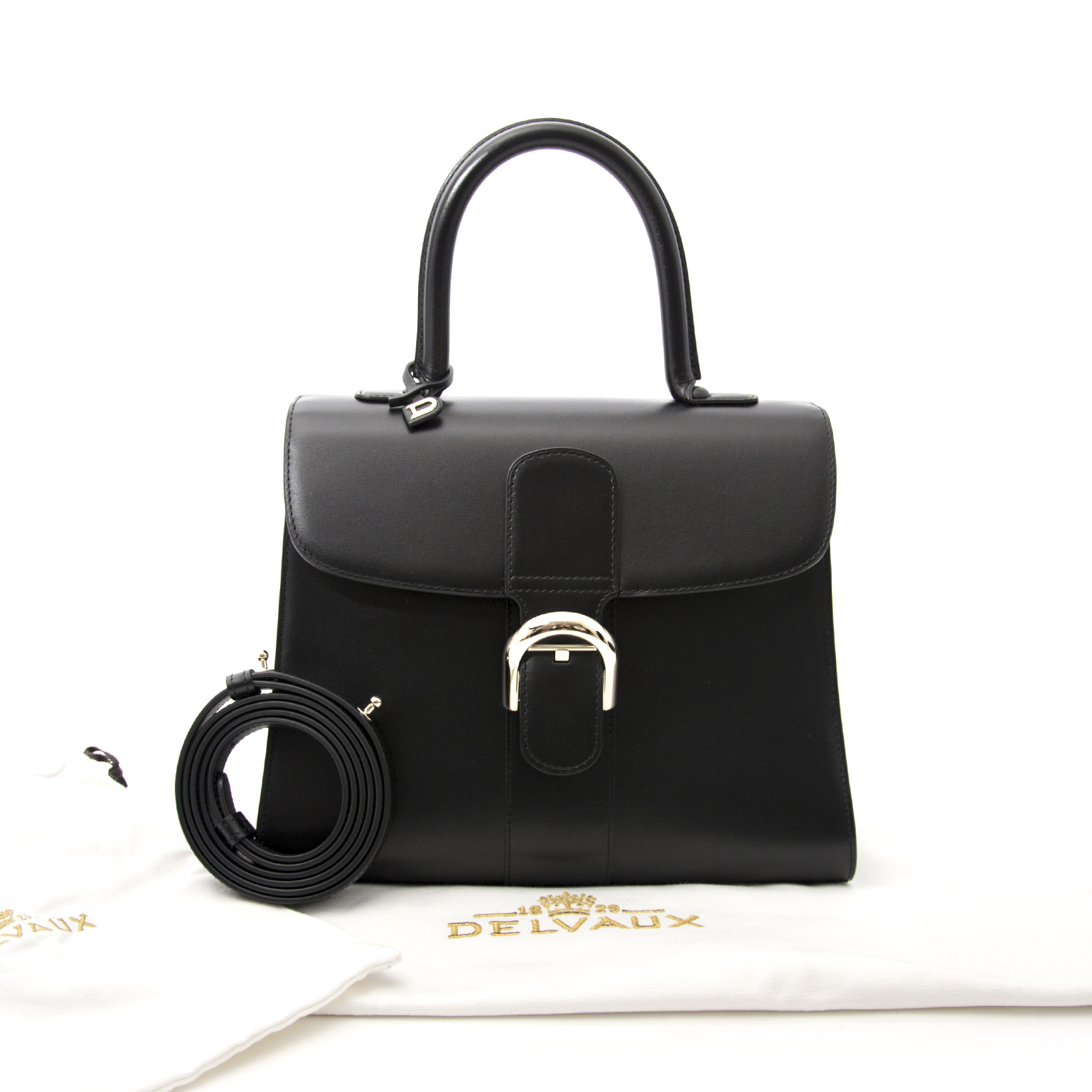 koop veilig online aan de beste prijs nieuwe zwarte Delvaux Brillant MM PHW + STRAP