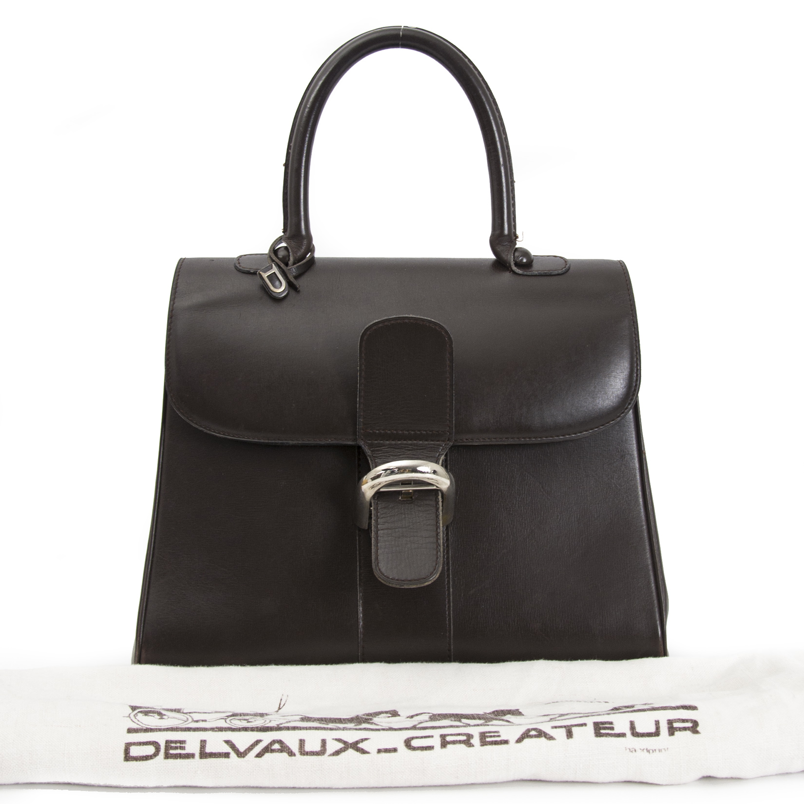 Delvaux Brown Boxcalf Brillant MM GHW shop safe online your secondhand