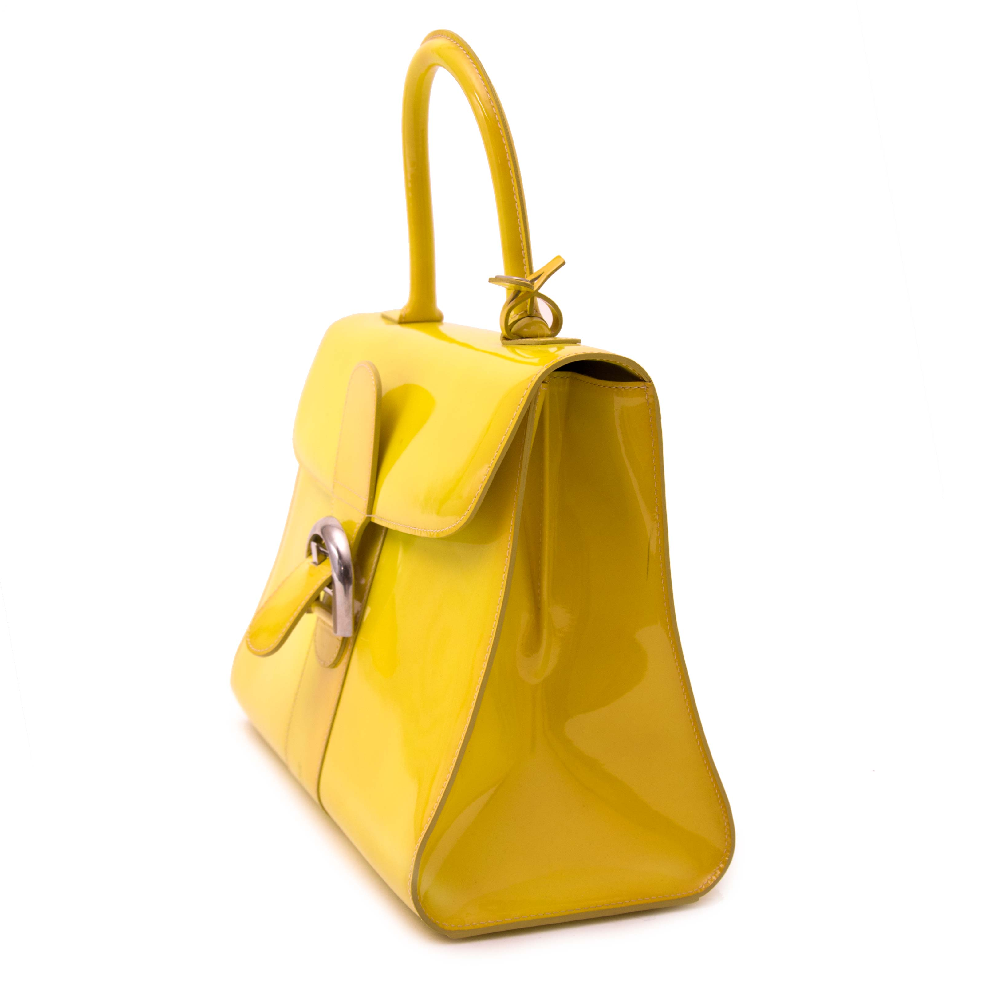 acheter en ligne seconde main Rare Delvaux Limited Patent Fluo Yellow Brillant
