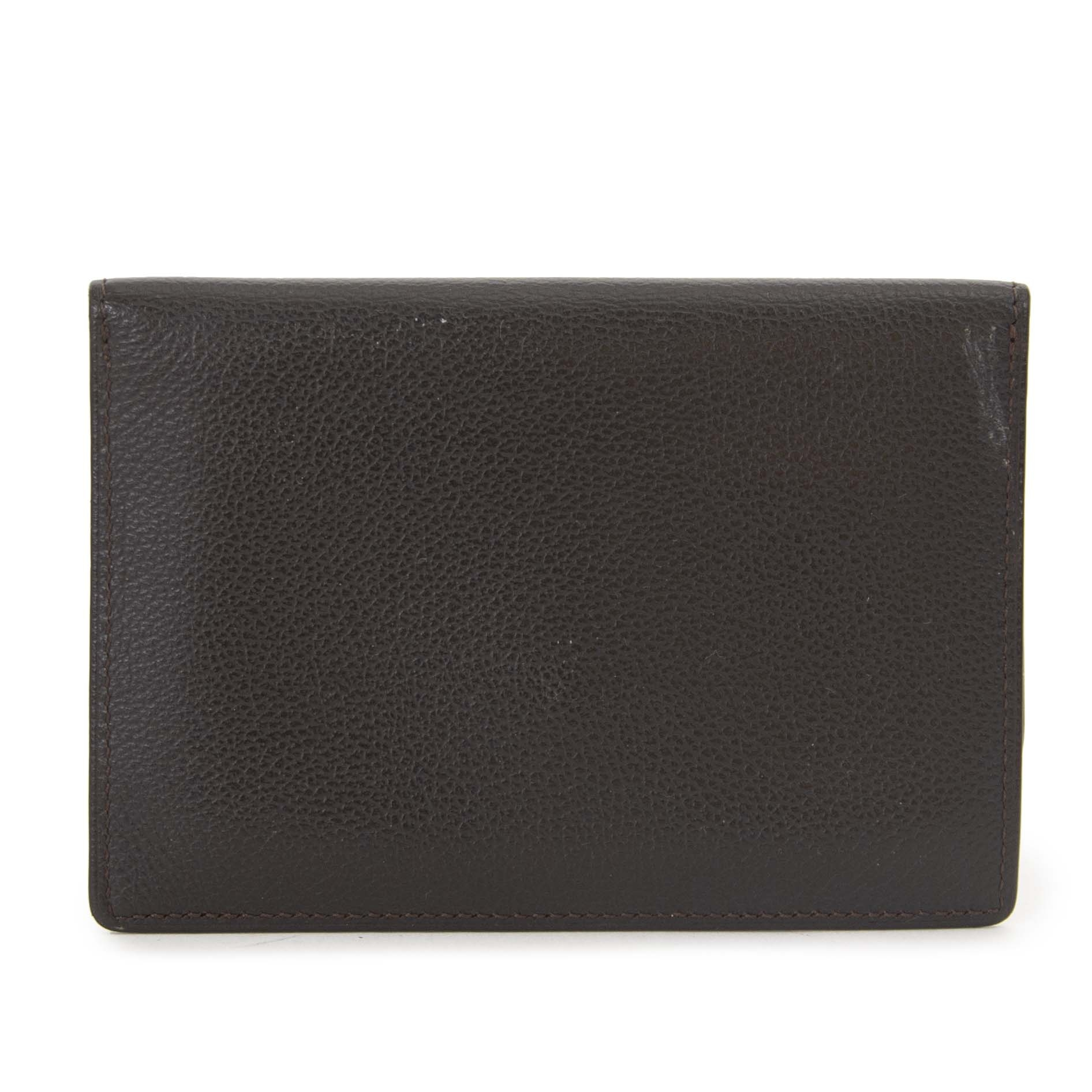 Delvaux Brown Leather Card Pouch now for sale at labellov vintage fashion webshop belgium