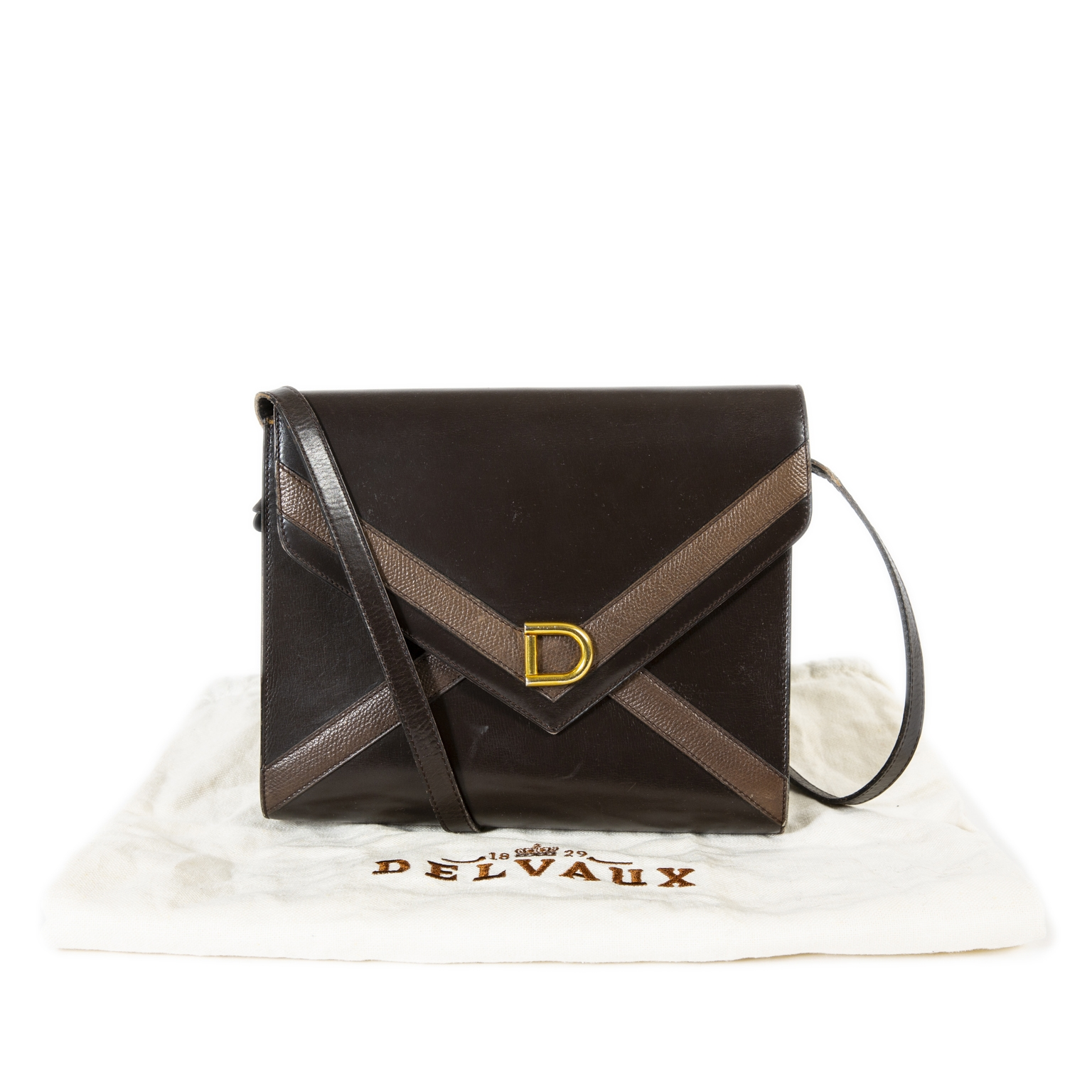 Delvaux Brown Envelope Shoulder Bag now for sale at labellov vintage fashion webshop belgium