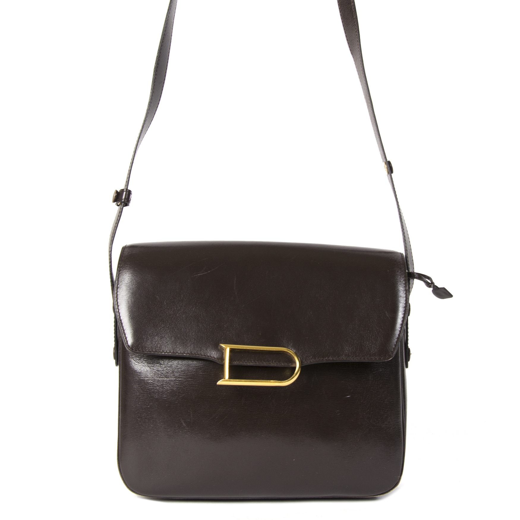 Delvaux Dark Brown Logo Crossbody Bag