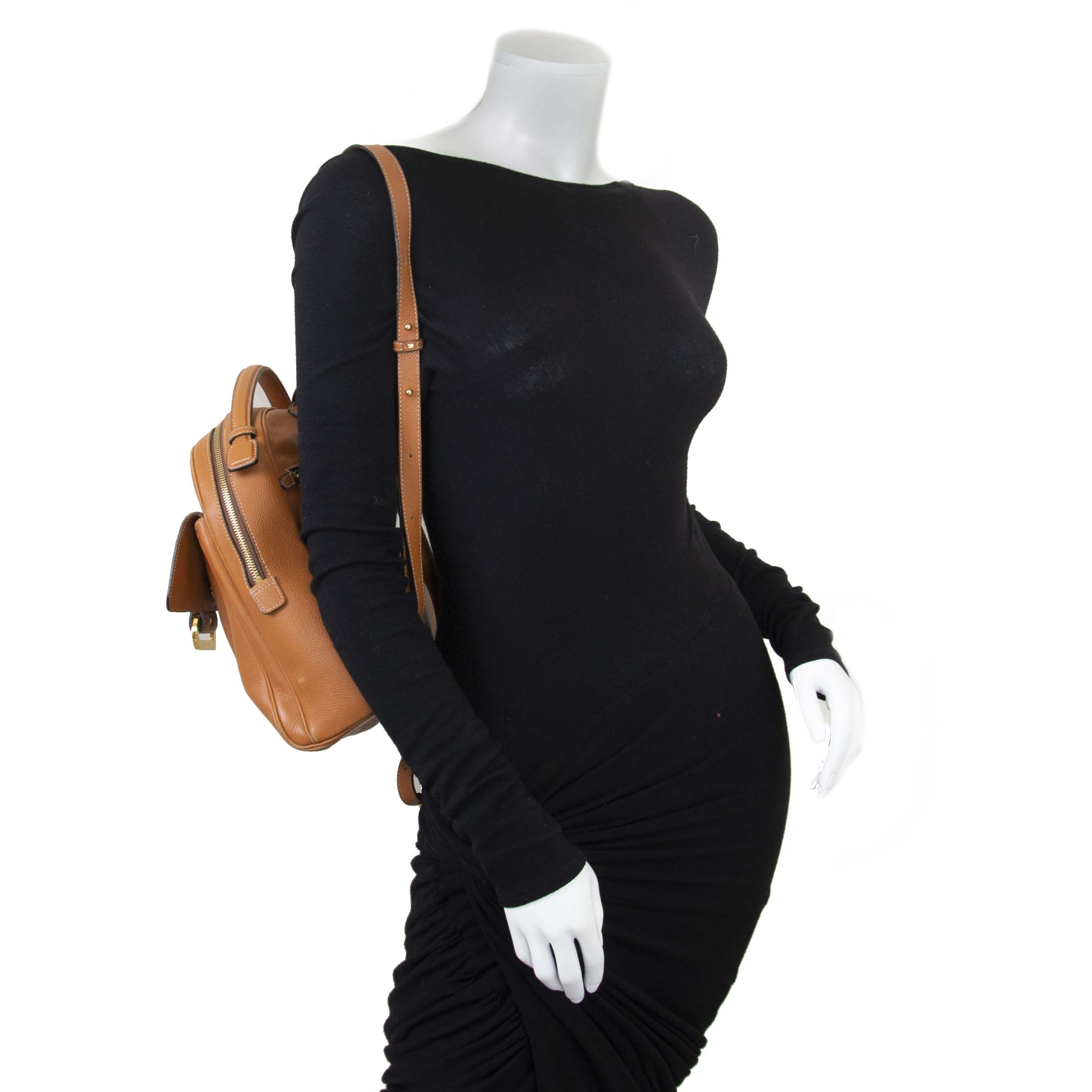 Delvaux Cognac Givry Backpack now for sale at labellov vintage fashion webshop belgium