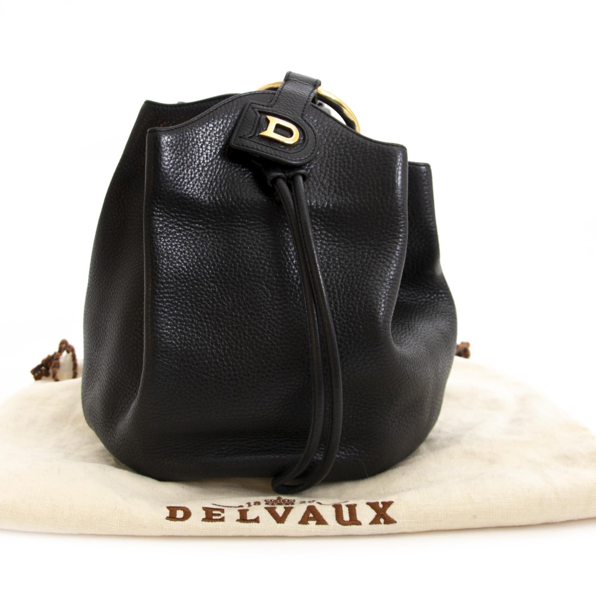Delvaux Black Leather Rose Des Vents Bucket Bag