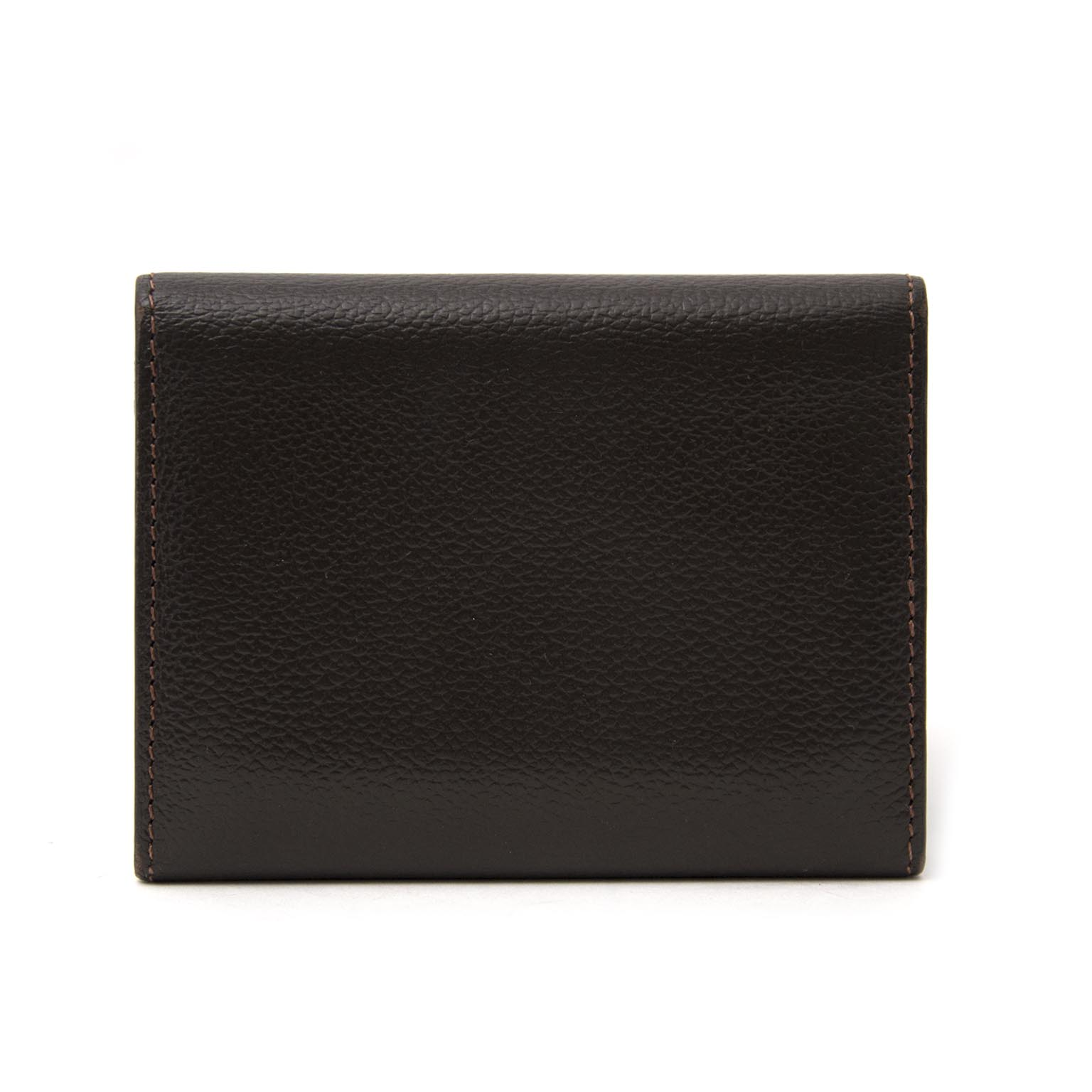 Buy your authentic Delvaux Brown Pebbled Leather Card Holder Flap Wallet