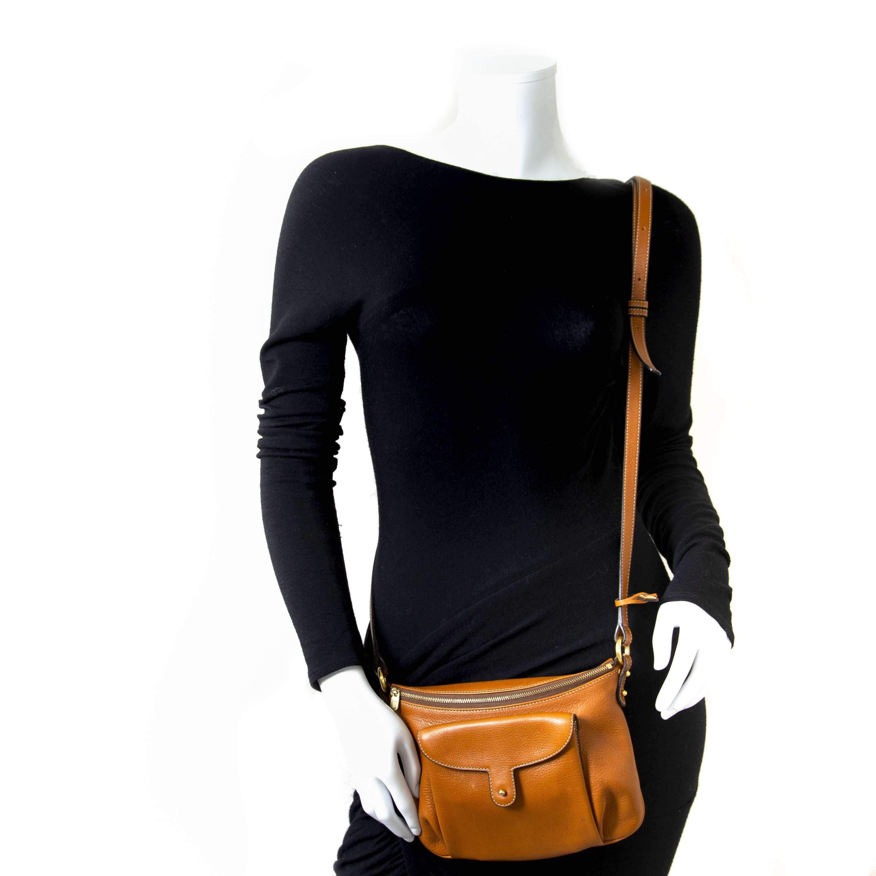 Vintage preloved bags Delvaux crossbody brown handtas tas bruin leder