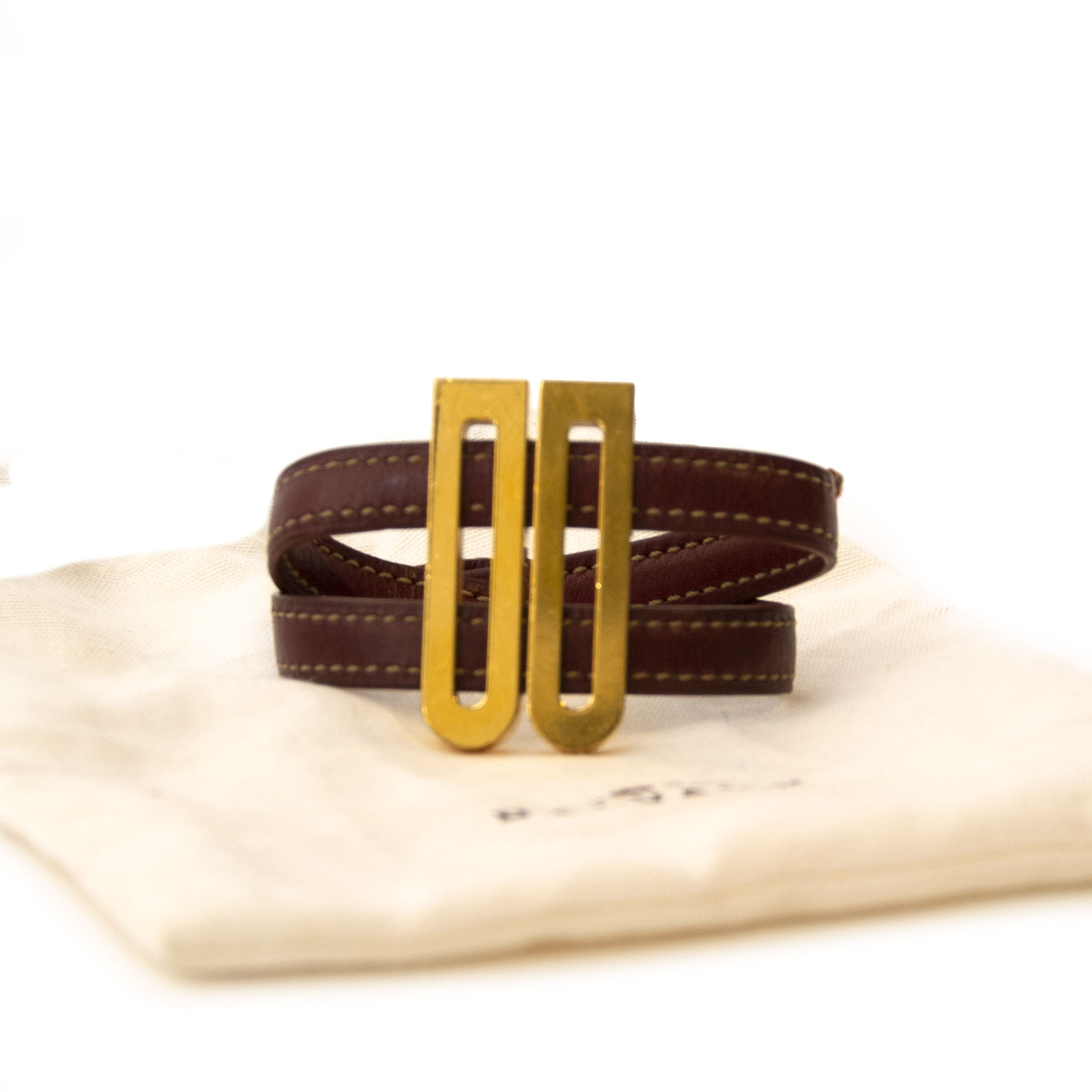 Delvaux Brown leather Gold D bracelet for the best price at Labellov secondhand