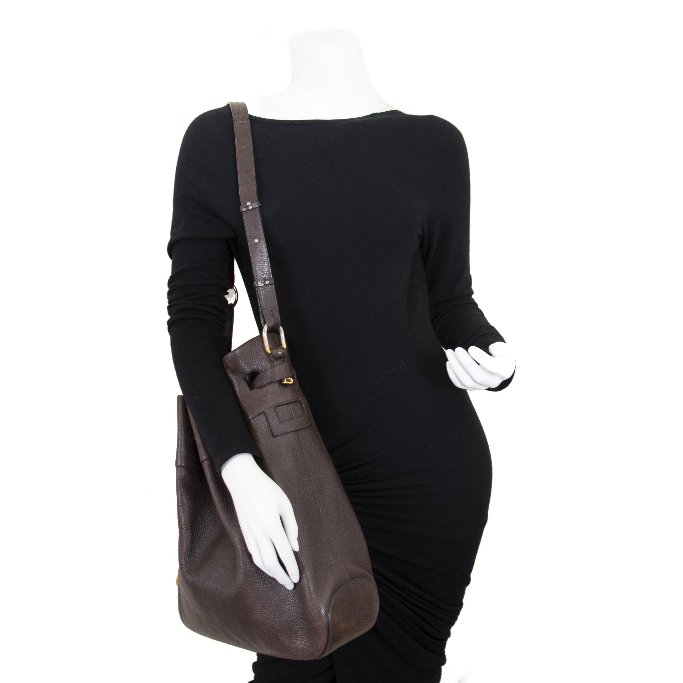 Delvaux Brown Leather Catogan Trotteur Bag now for sale at labellov vintage fashion webshop belgium