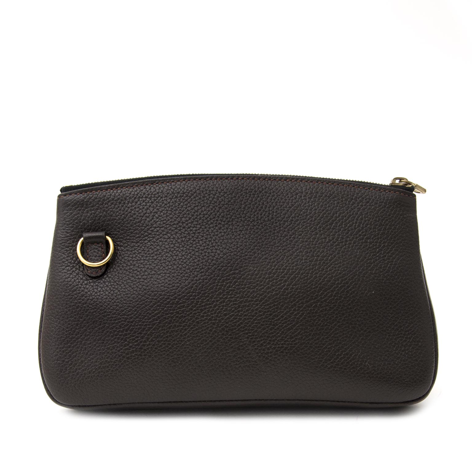 Delvaux Brown Pebbled Leather Pouch