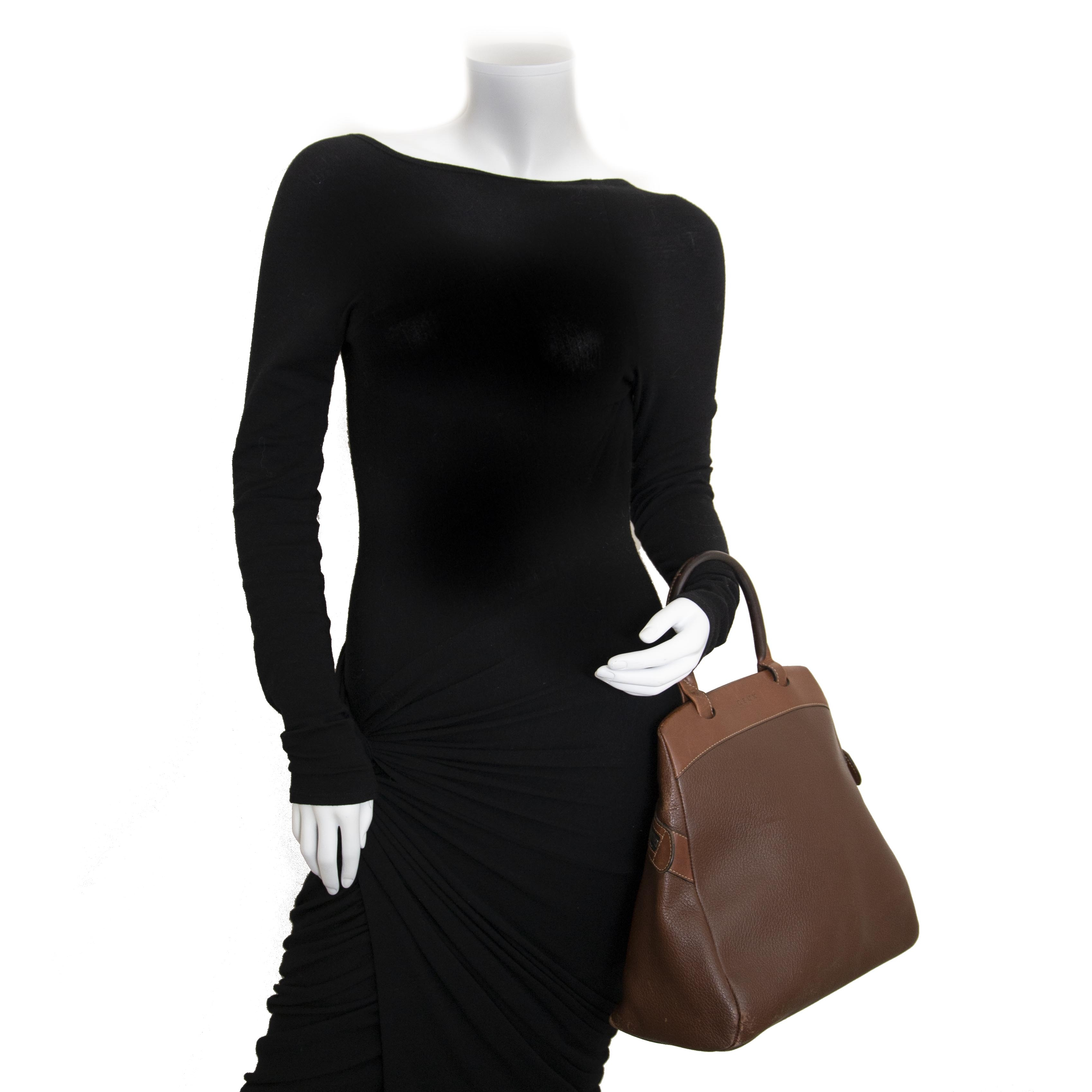 Buy and sell your authentic designer bags online Deux De Delvaux Brown Top Handle Bag