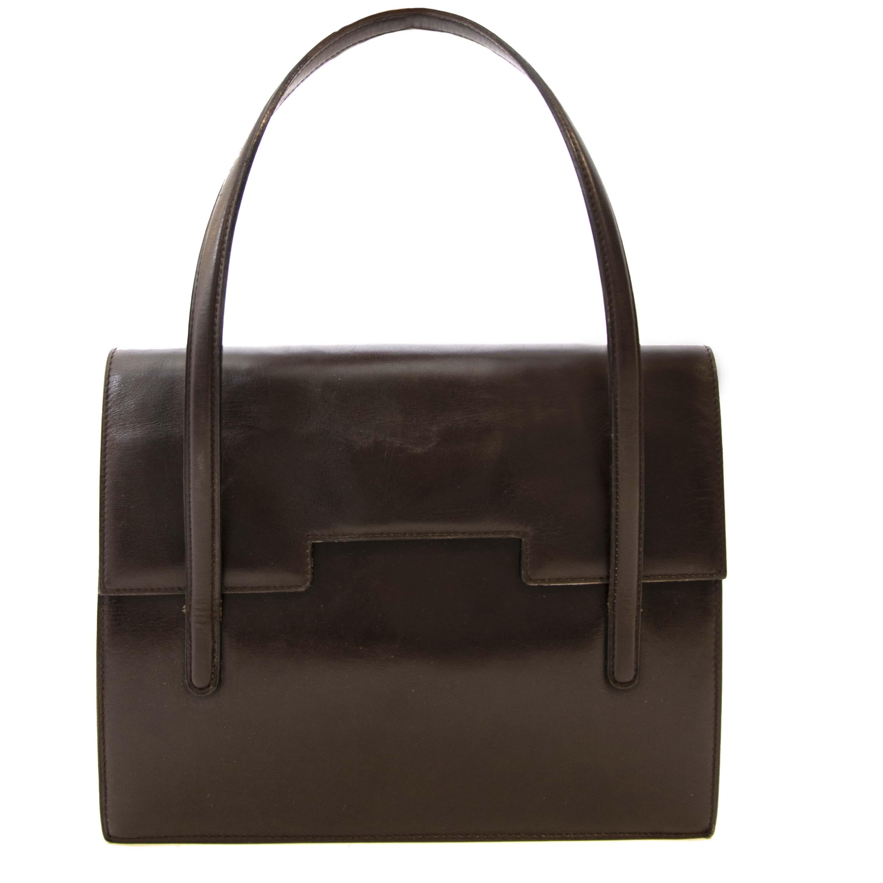 Secondhand Delvaux Brown Box Calf Leather Shoulder Bag at Labellov. Safe online shopping
