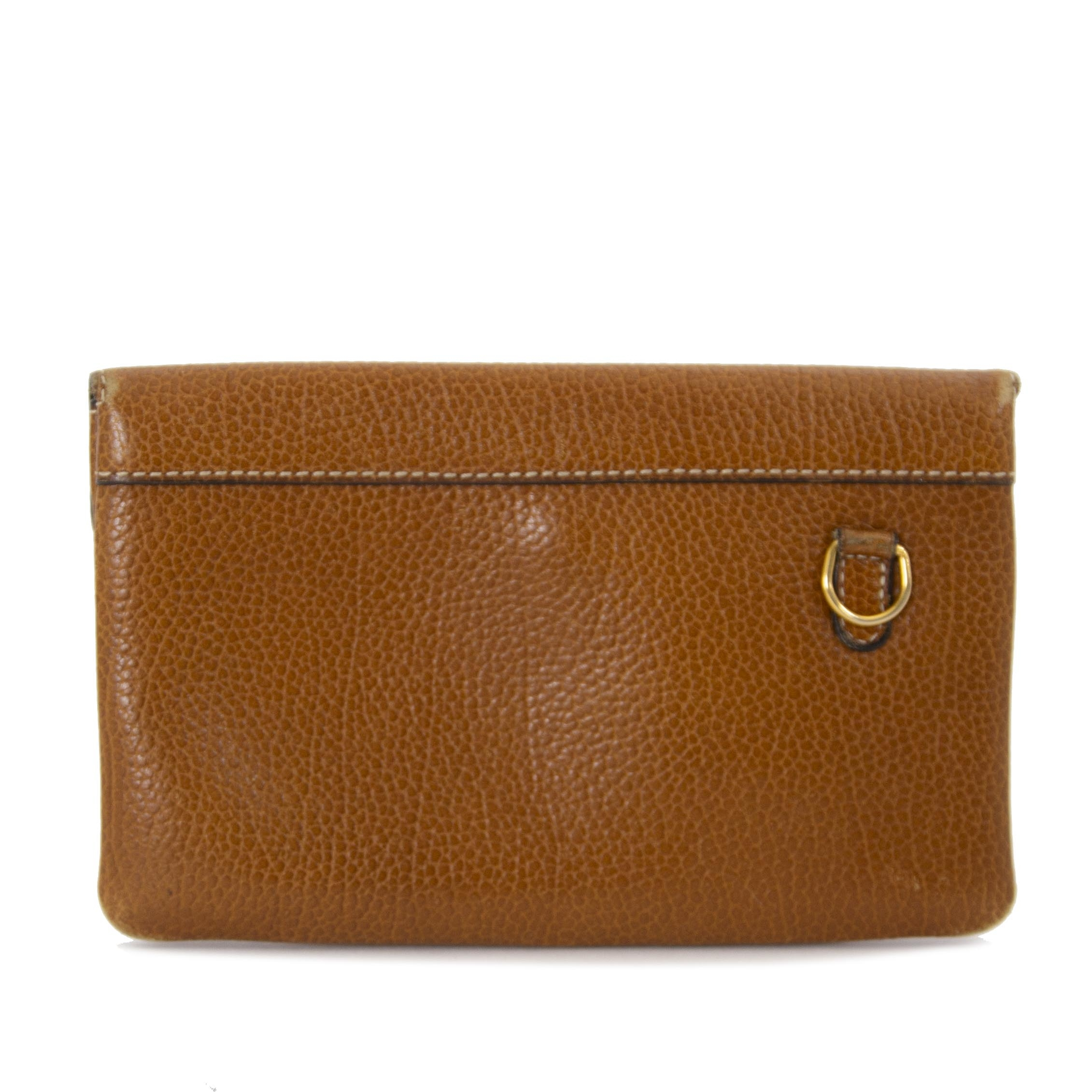 Delvaux Brown Leather Pouch now for sale at labellov vintage fashion webshop belgium