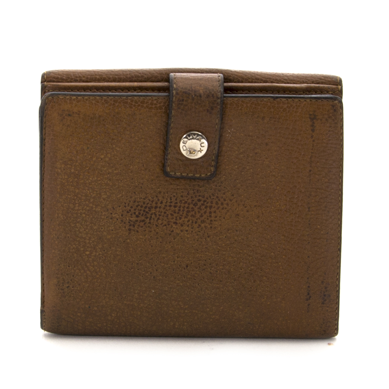 delvaux brown leather wallet now for sale at labellov vintage fashion webshop belgium