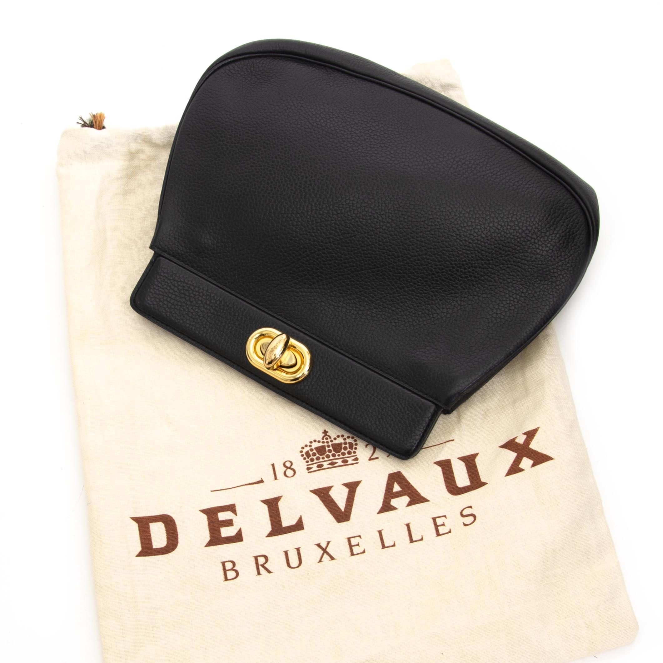koop veilig online tegen de beste prijs Delvaux Black Leather Pochette Clutch