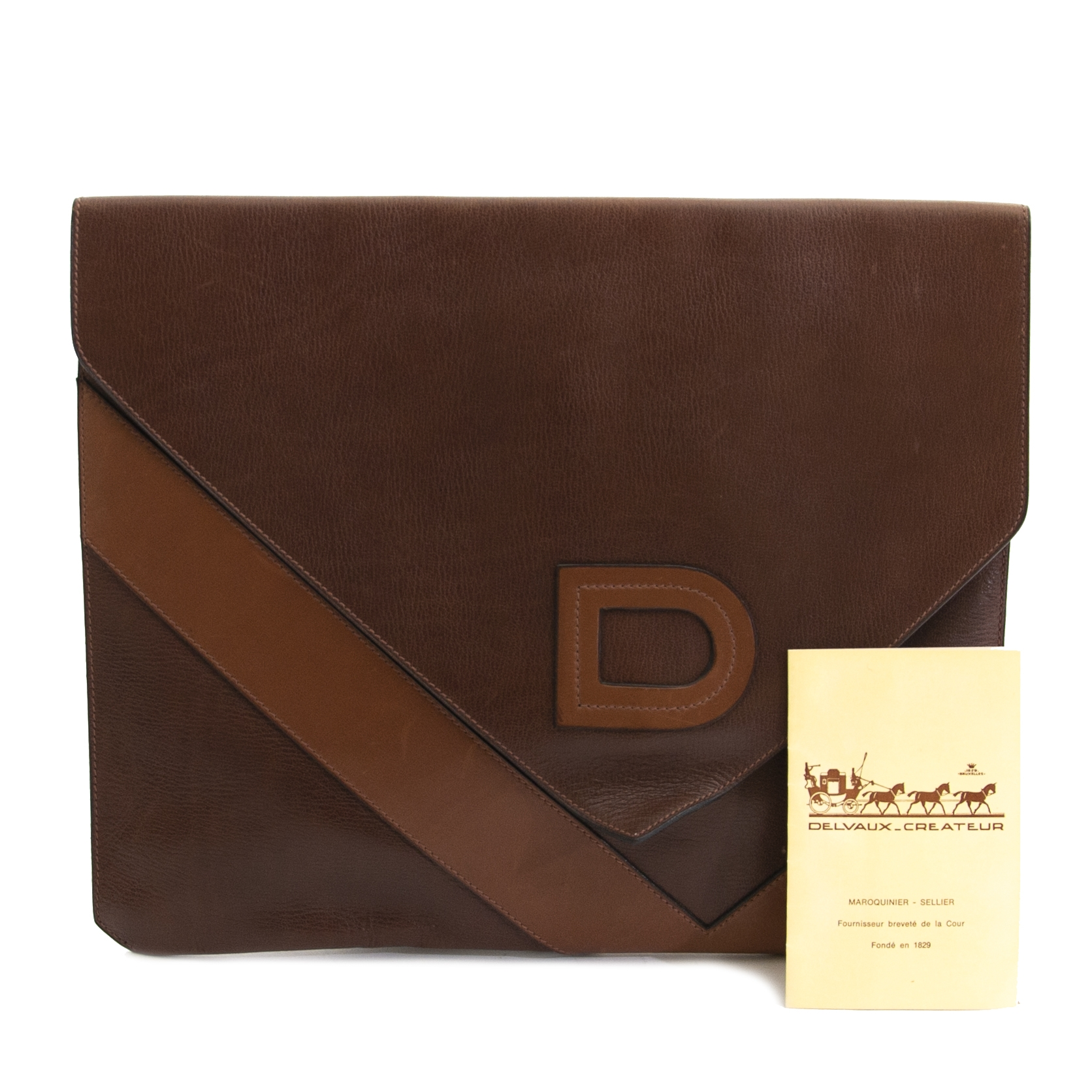 Delvaux Efficace Brown Leather Portfolio Clutch available at the best price at Labellov