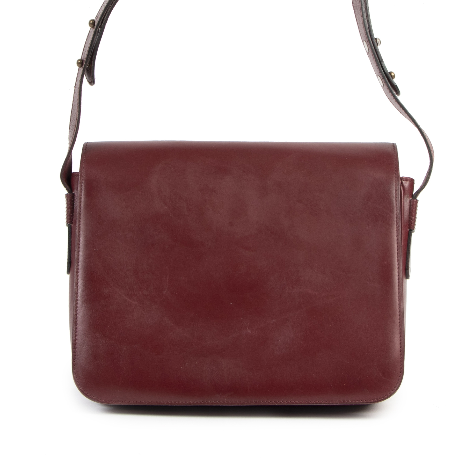 Delvaux Burgundy Leather Shoulder Bag